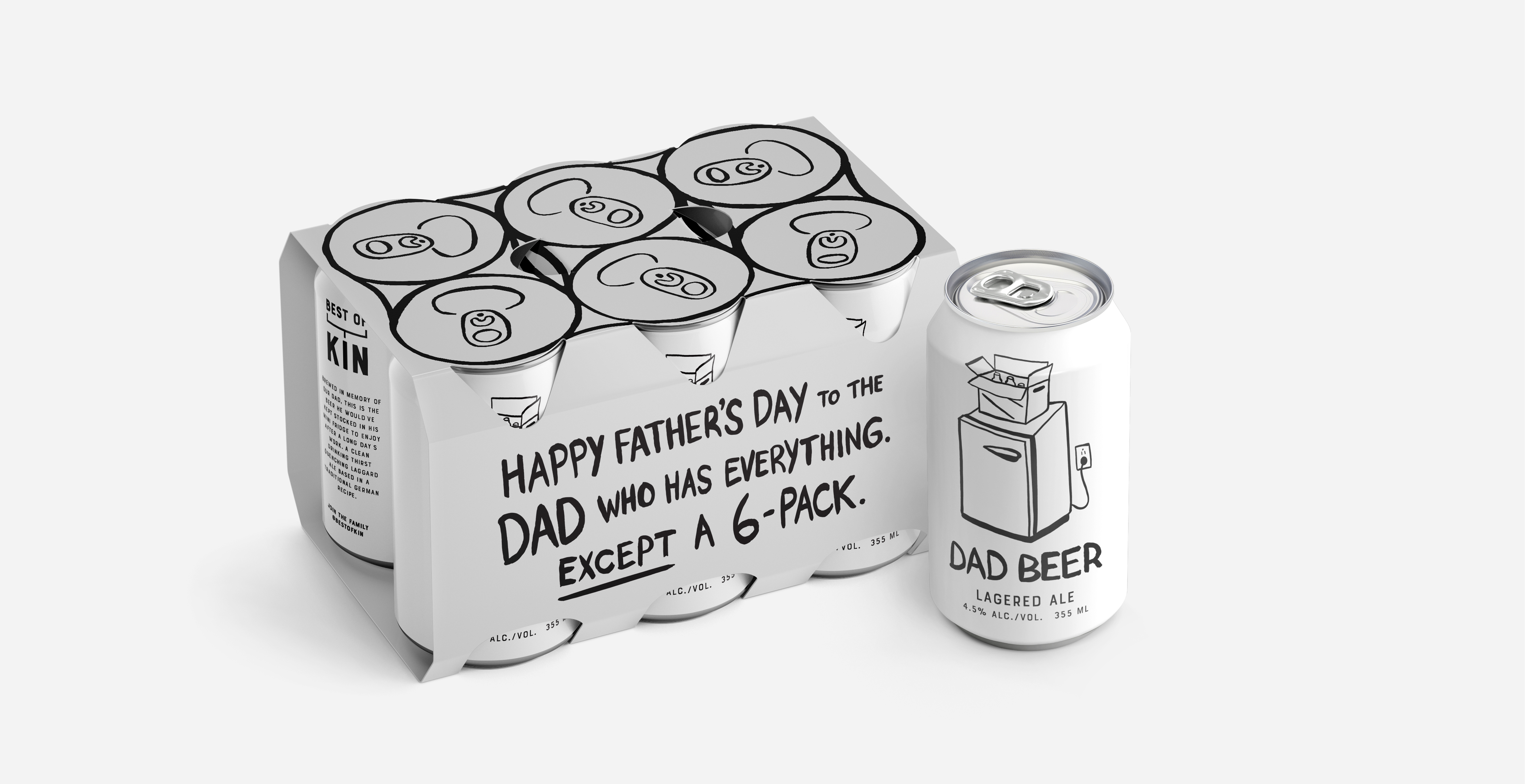 Best Of Kin Turns 'Dad Beer' 6-pack Into Father's Day Greeting Card Designed by Conflict