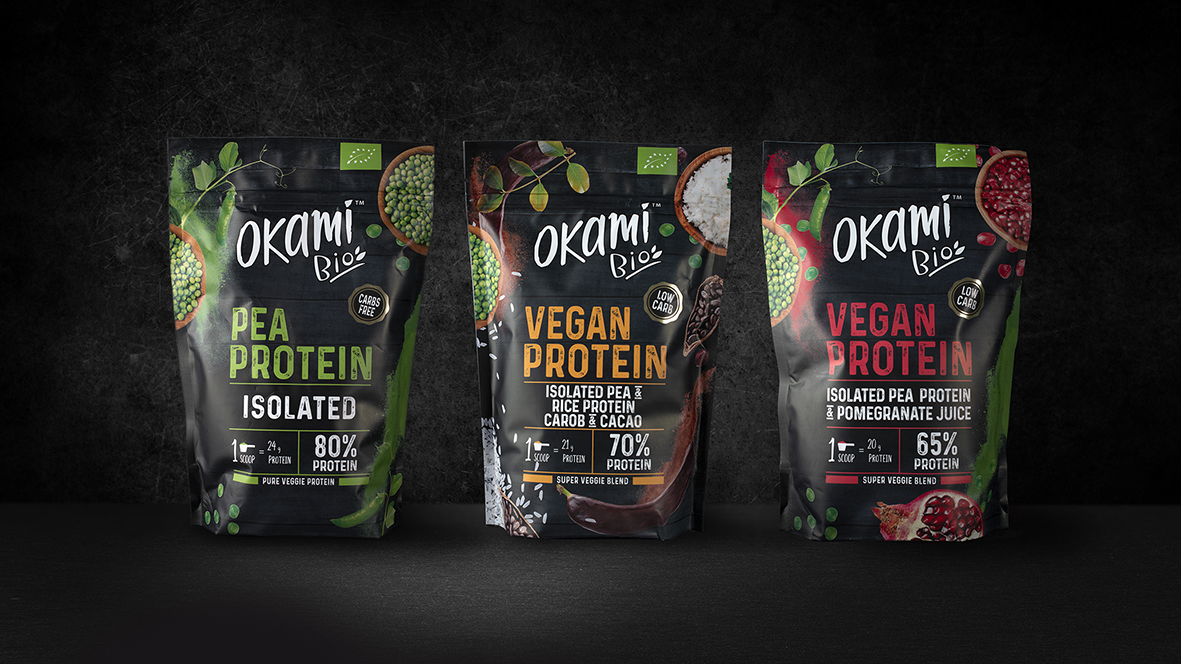 Okami Brand, Protein Packaging Design Created by lacía Agency