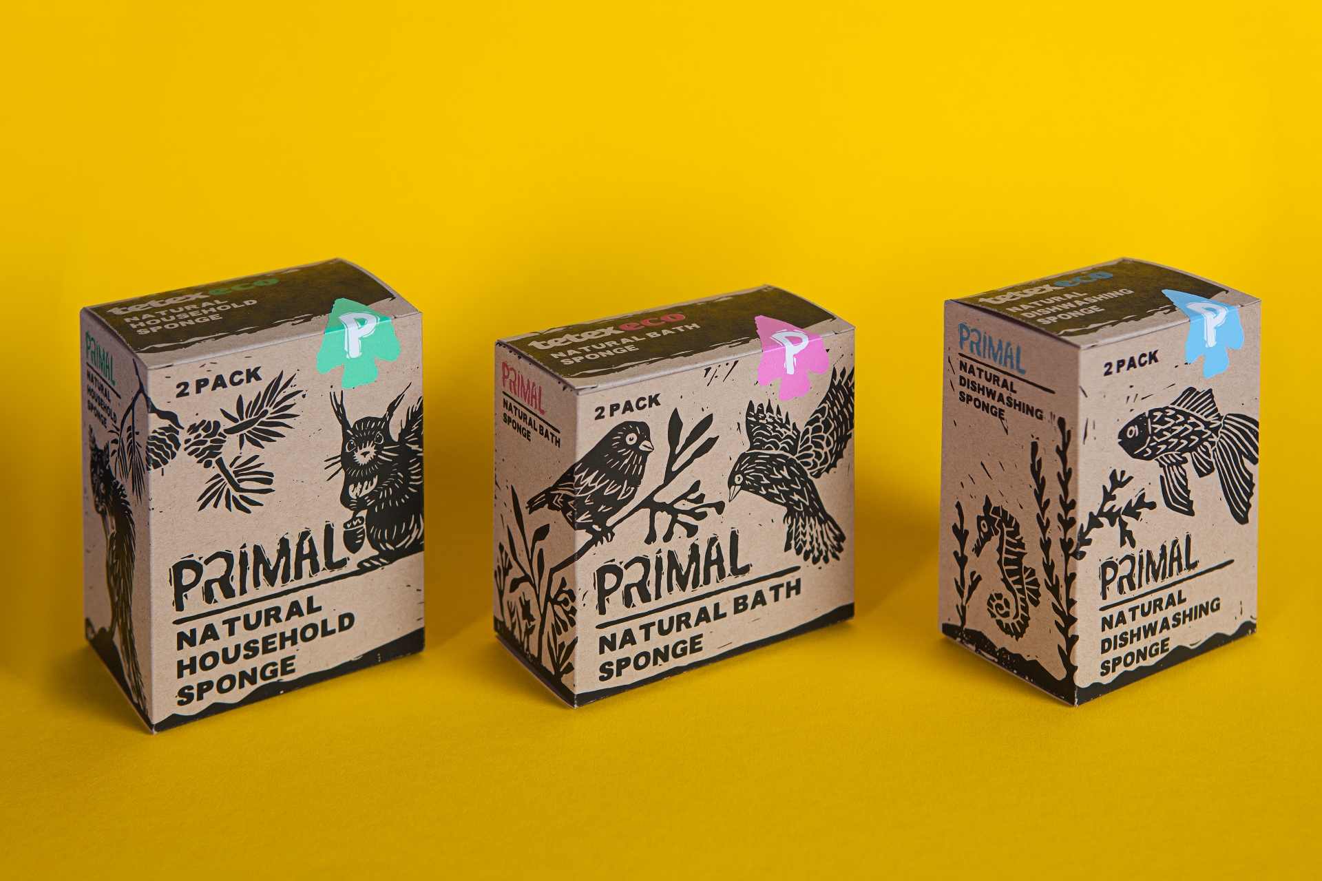 Packaging Design for Eco-Friendly and Biodegradable PRIMAL Sponges