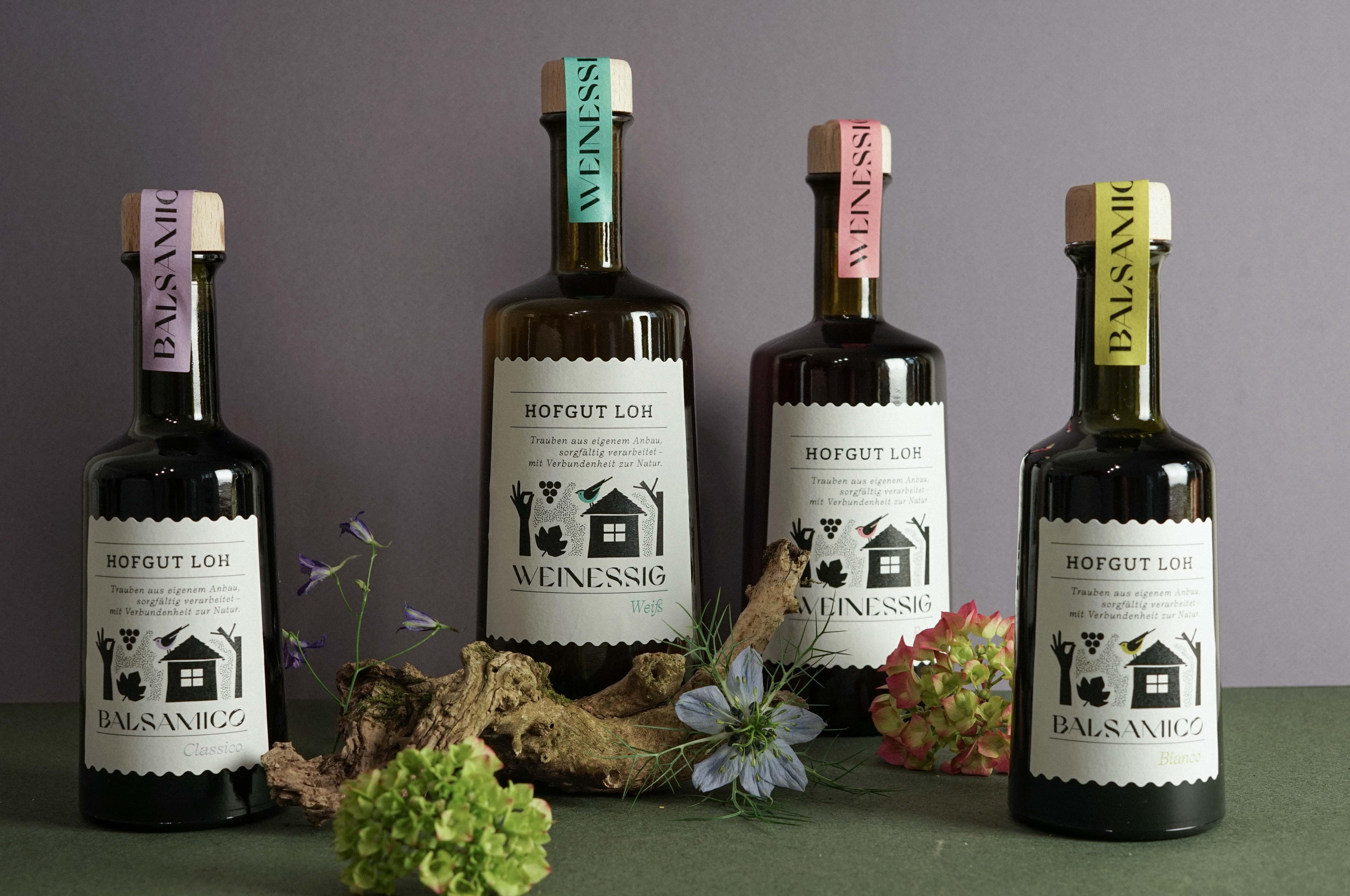 New Vinegar and Balsamic Packaging Design for Hofgut Loh by Johanna Krumbügel