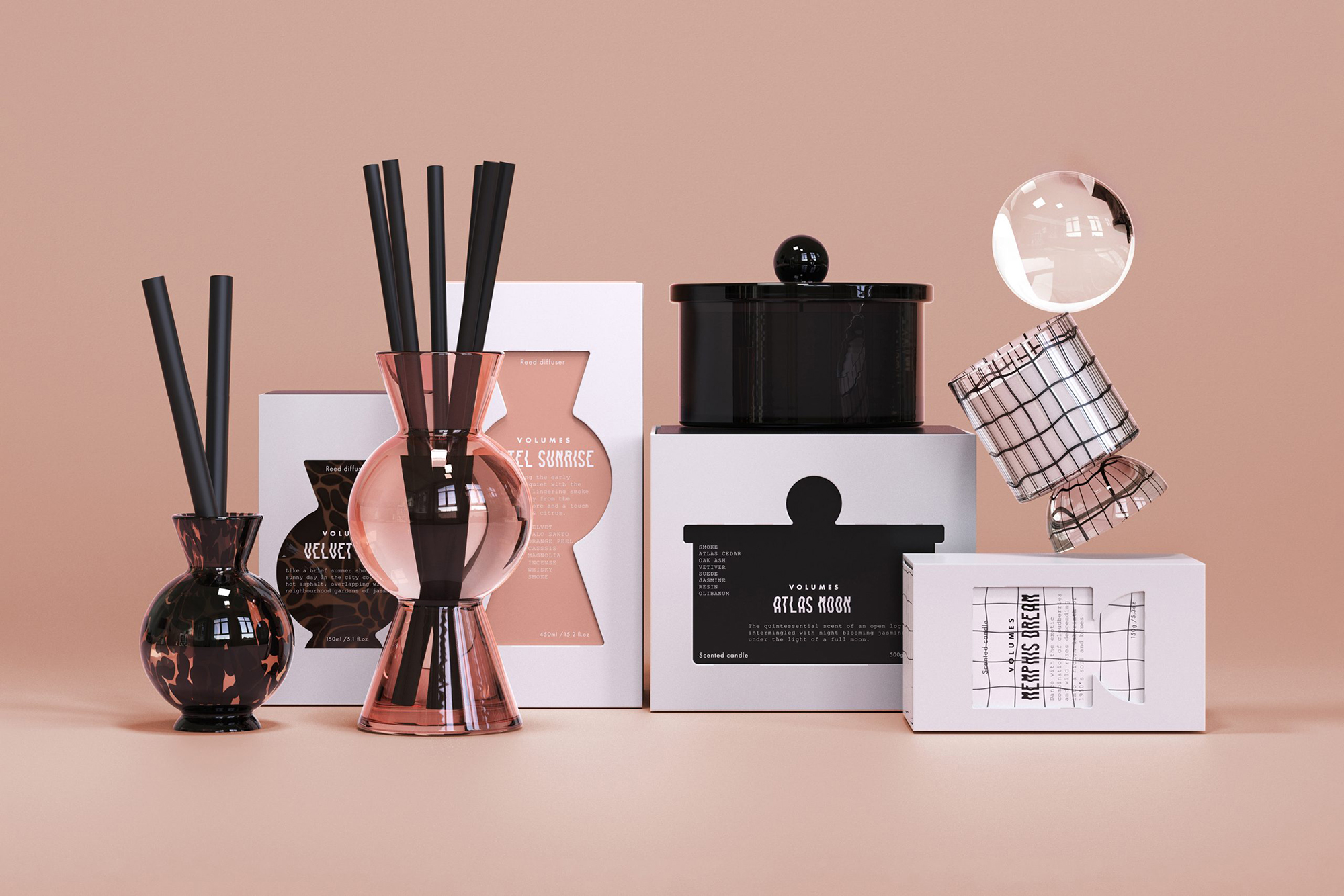 Sarah Johnston Creative Concept for Geometric Forms Intertwined with Rich smokey Aromas