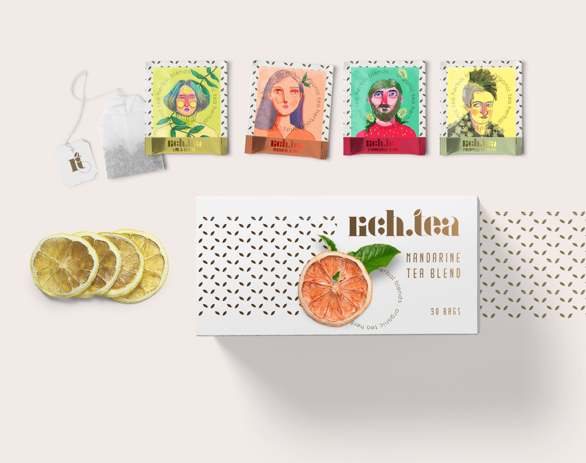 """Brand Identity and Packaging for """"Rich.Tea"""" Infusions"""