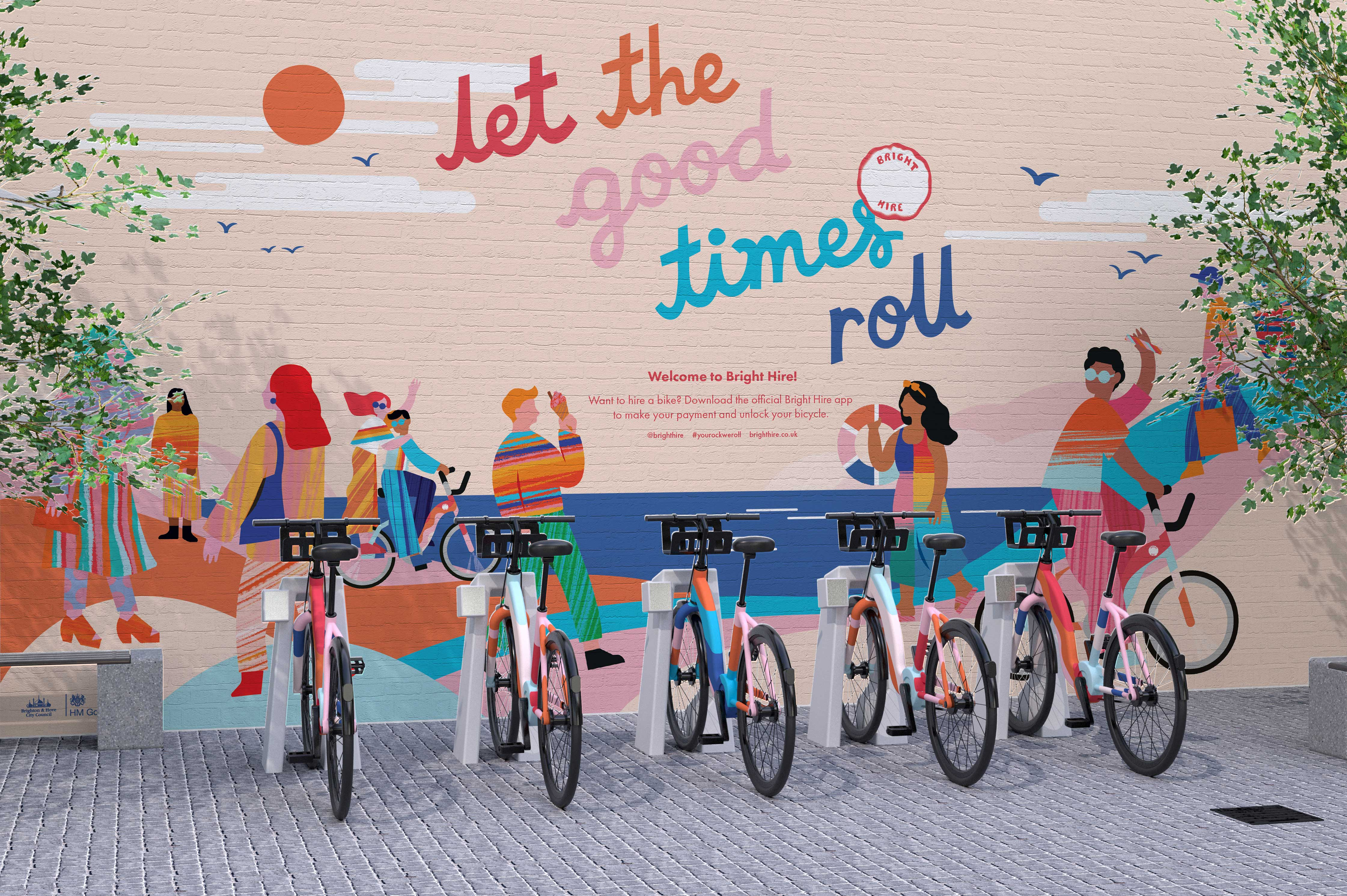 Stick-of-rock Inspired Identity for Brighton-Based Bike Hire Scheme