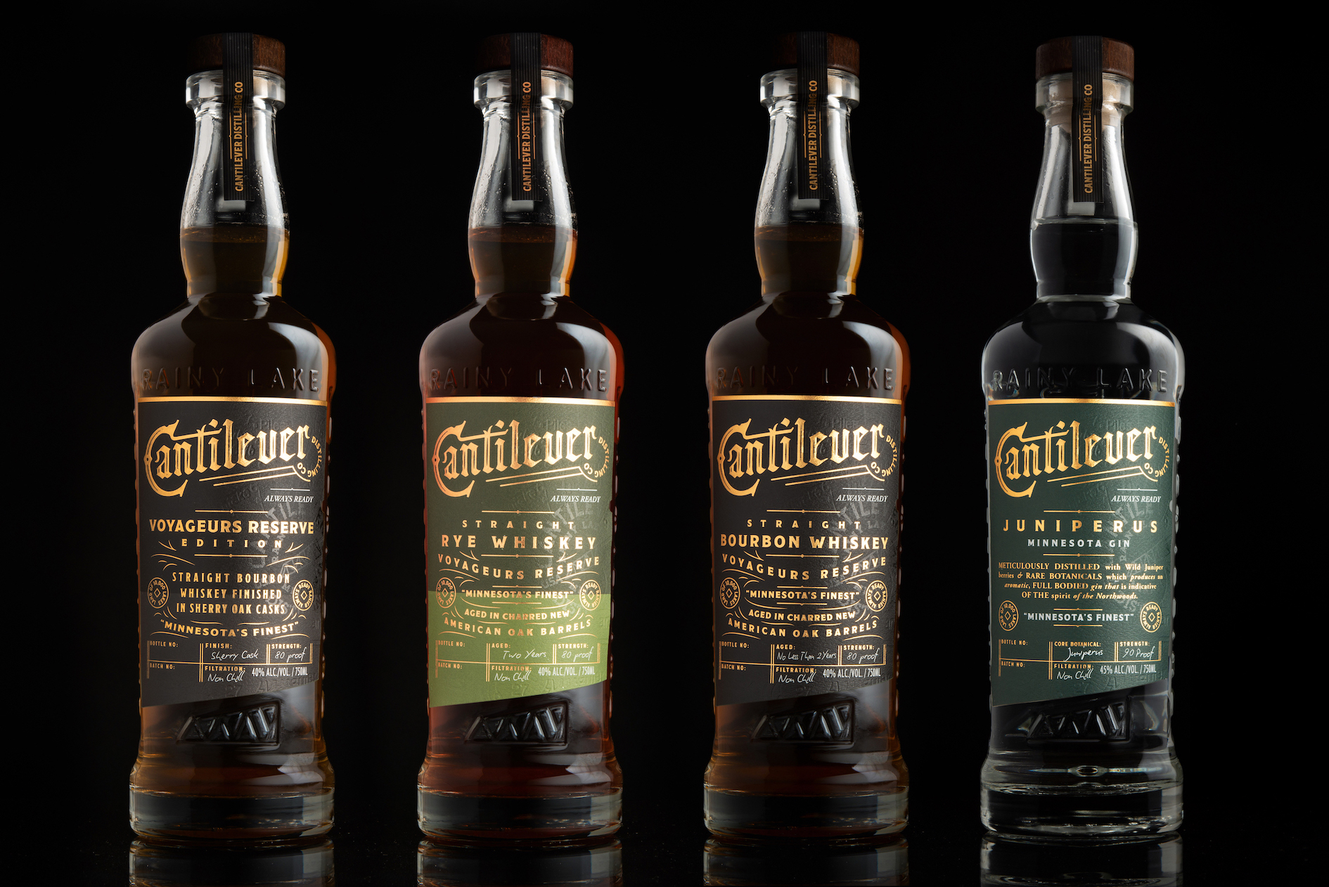 Cantilever Distillery Custom Bottle and Packaging Design by Thoroughbred Spirits Design