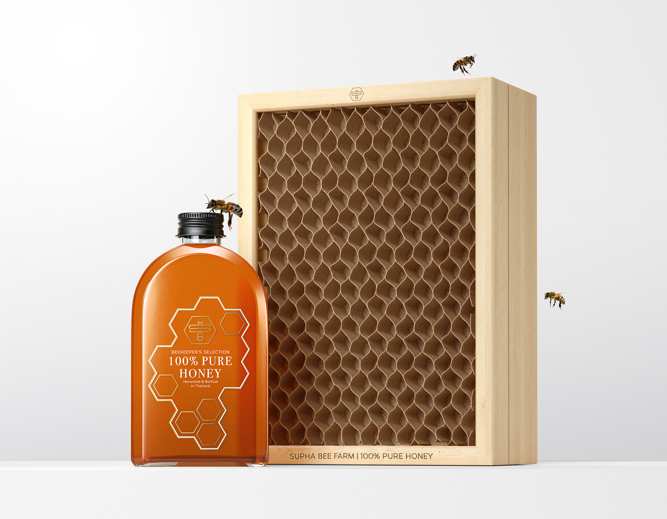 Supha Bee Farm Honey Packaging Design by Prompt Design