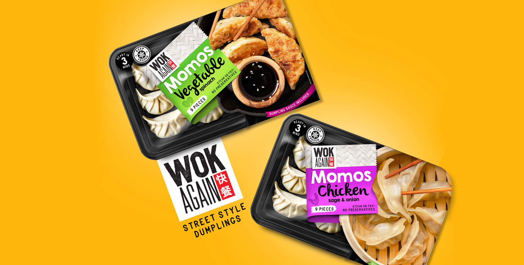 Firstbase Creates Vibrant Packaging Design for Wok Again Dumplings