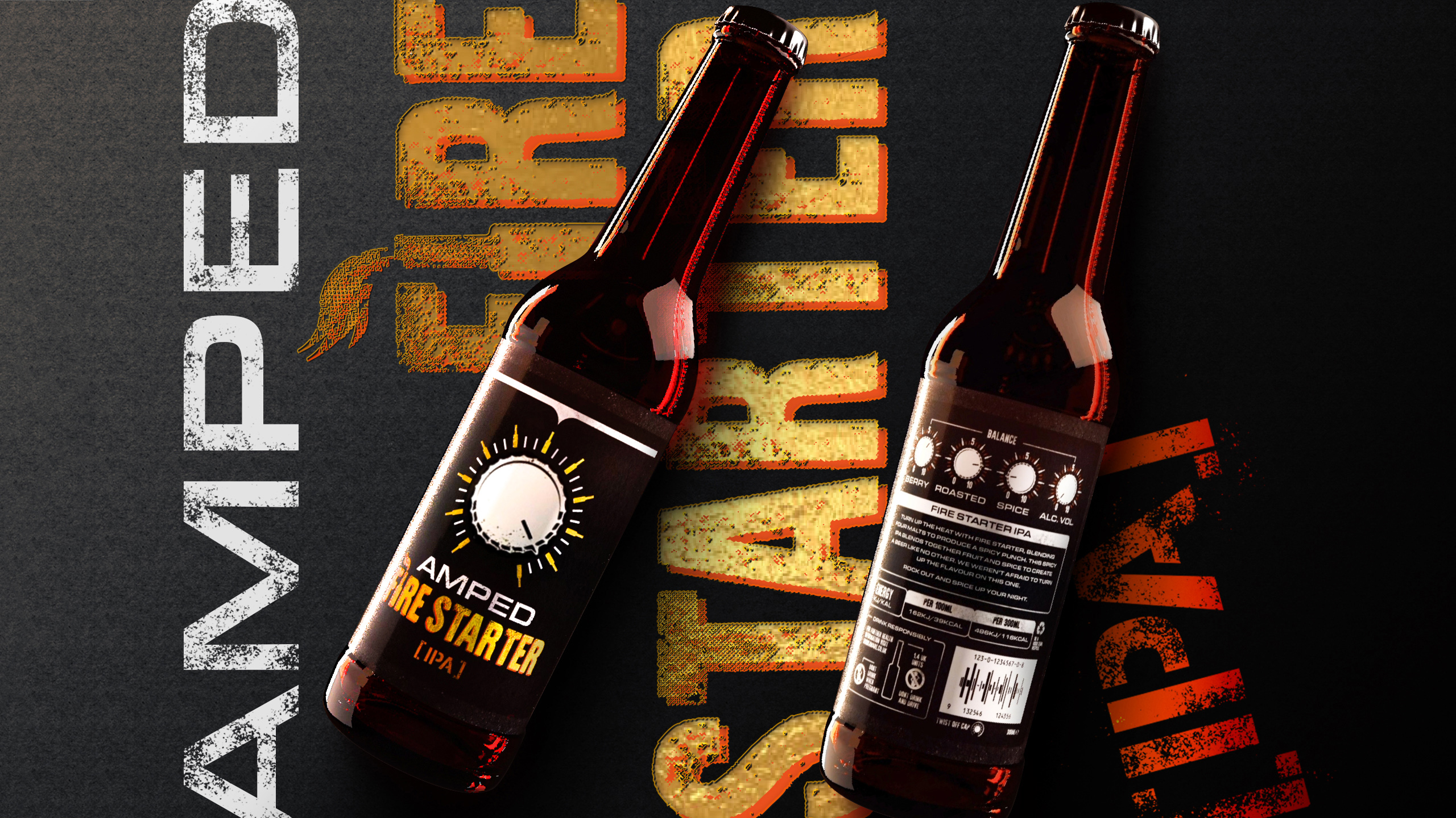 Student Packaging Design for Conceptual Brewery 'Amped' by Ethan Brown