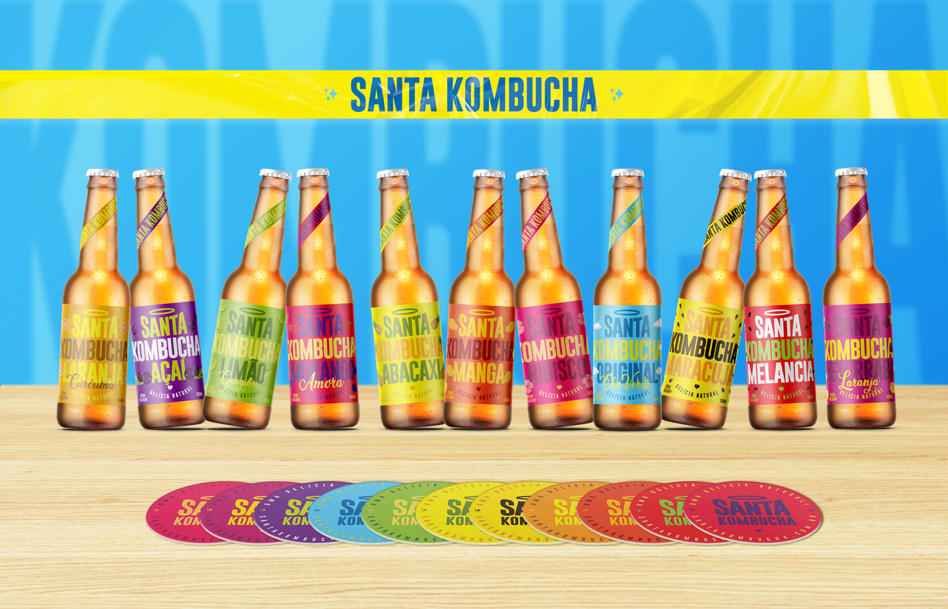 Industria Branding Creates New Packaging Design for Santa Kombucha