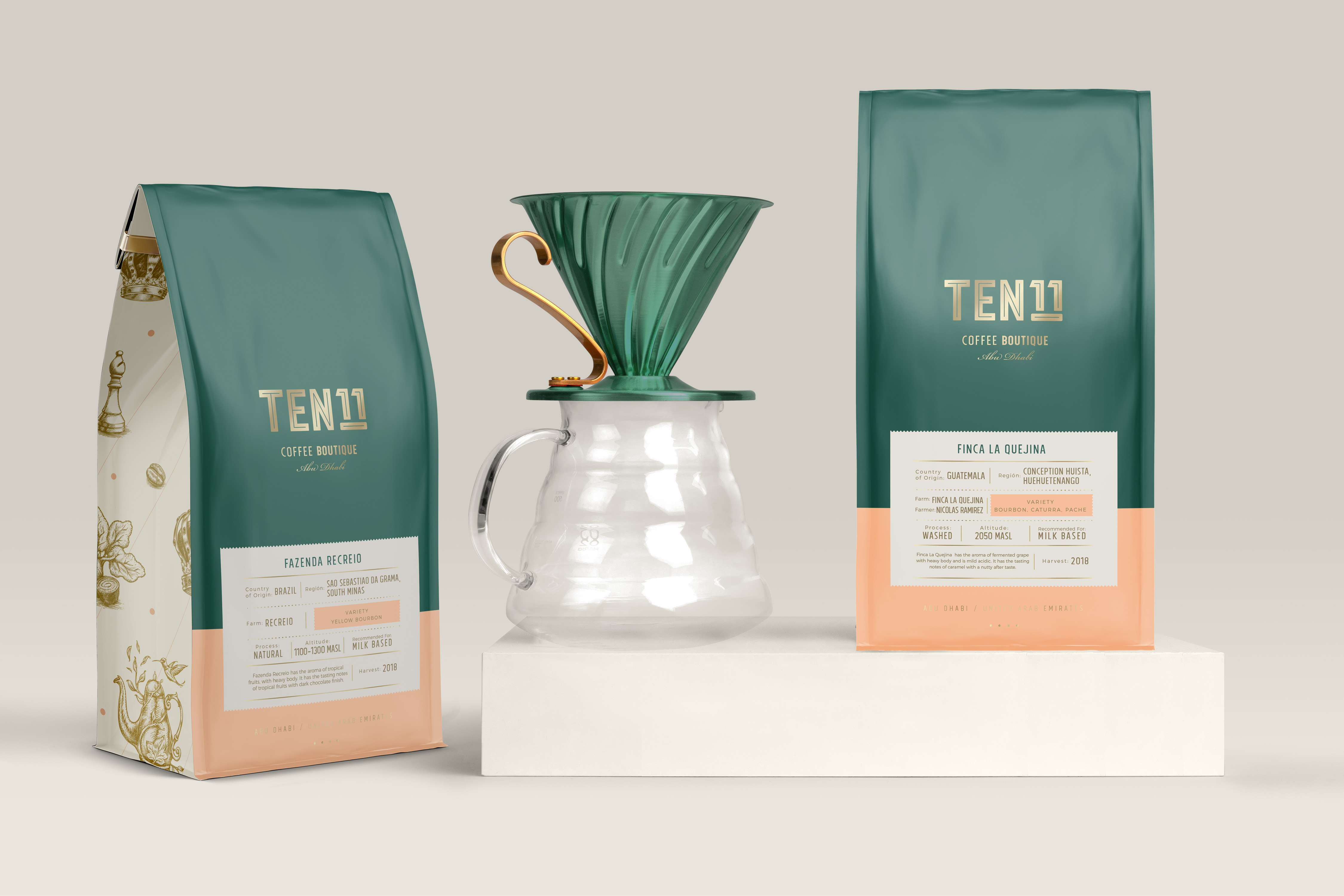 PurpleDash Creative Boutique Branding and Illustration for TEN11 Specialty Coffee Shop in Abu Dhabi