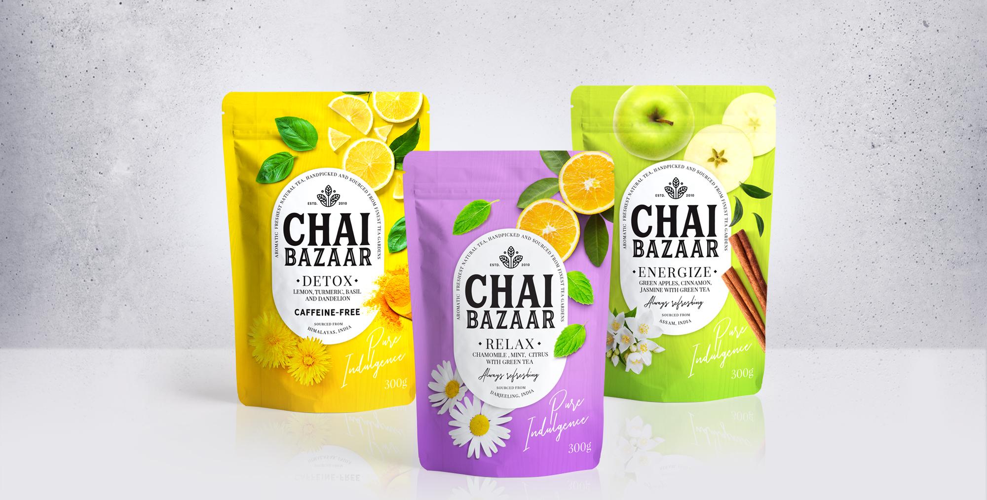 Firstbase Creates a Vibrant Packaging Design for Chai Bazaar