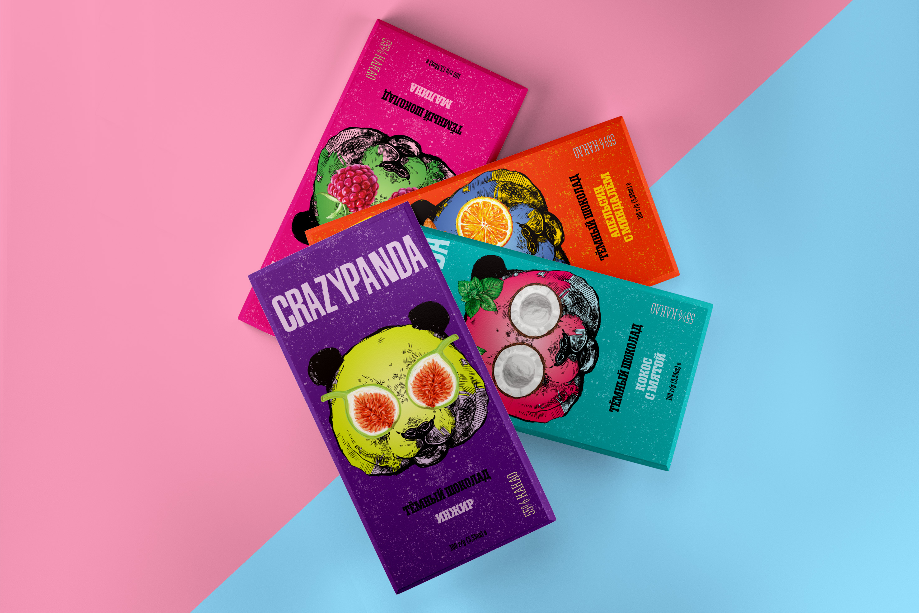 Packaging concept for chocolate CrazyPanda by Alisa Vorkunova
