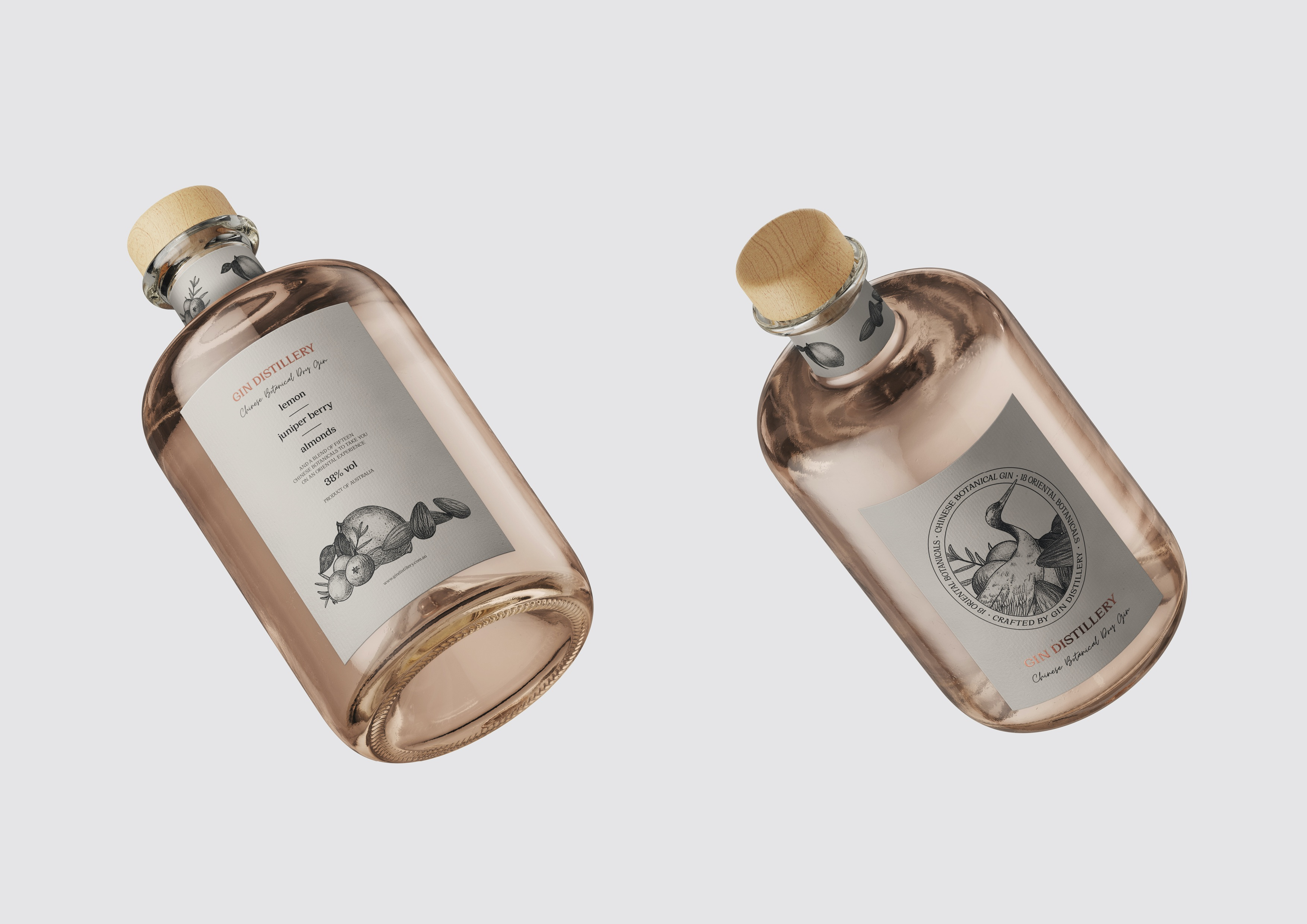 Ticky Lan Creates Packaging Label Design for Chinese Botanical Crafted Gin owned by Gin Distillery