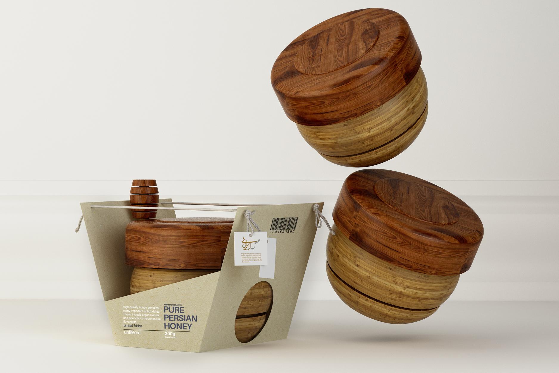 Taha Fakouri Design Creates New Honey Packaging, Persian Pure Honey