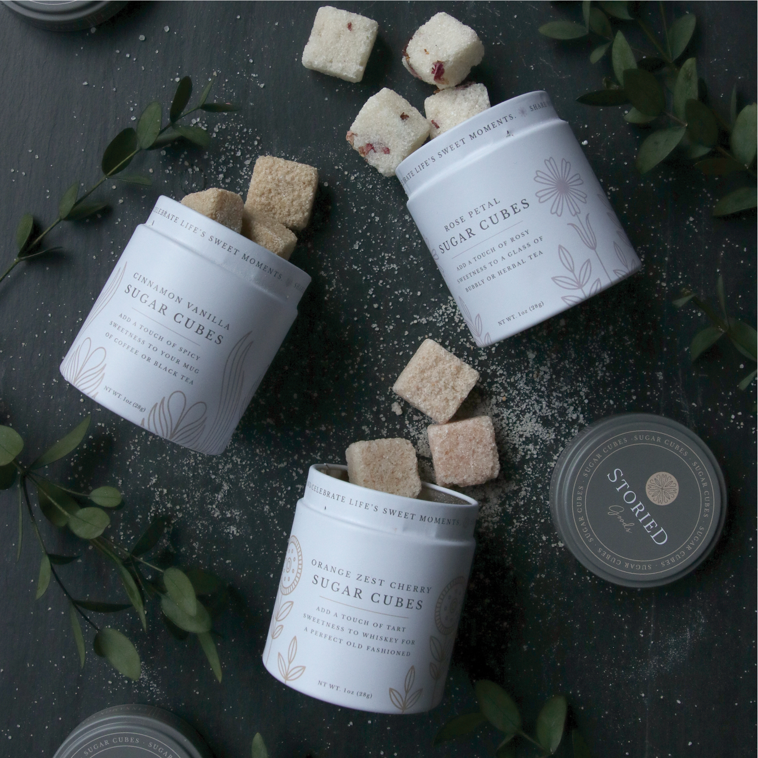 Sweet Sugar Cube Tins with Scandanavian Style Created by Watermark Design