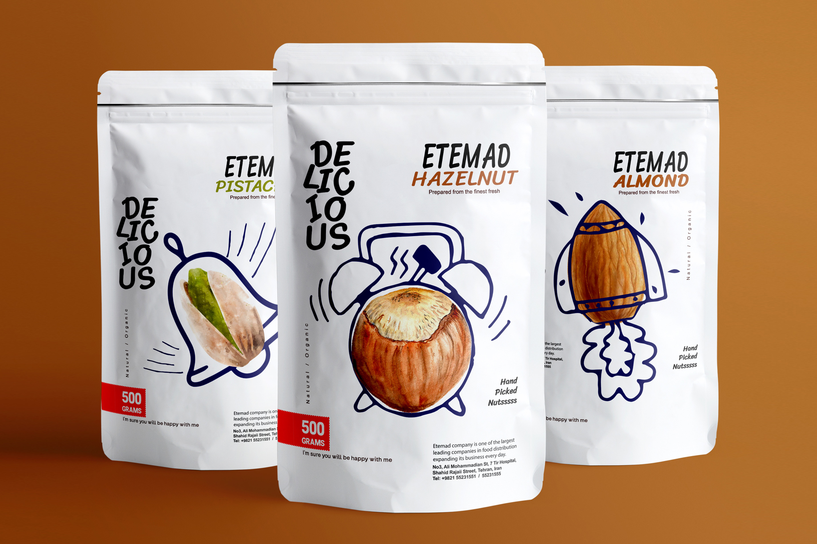 Taha Fakouri Creates New Nuts Packaging Design for Etemad Nuts