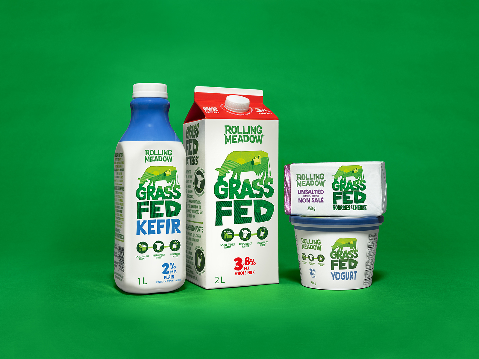 Brand and Packaging Design for Rolling Meadow Grass Fed Dairy Products Created by Davis