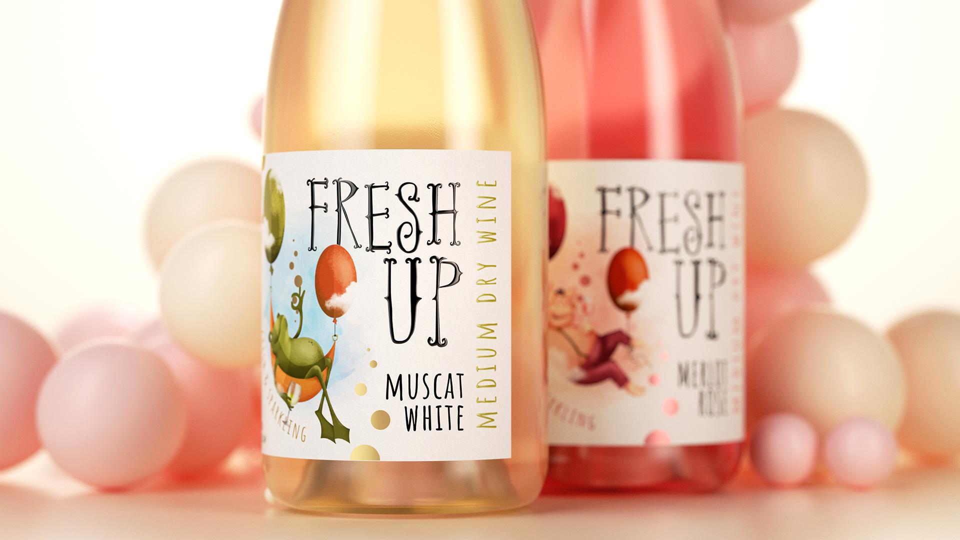 Fresh Up. Packaging for Sparkling Wines Designed by Lemongrape