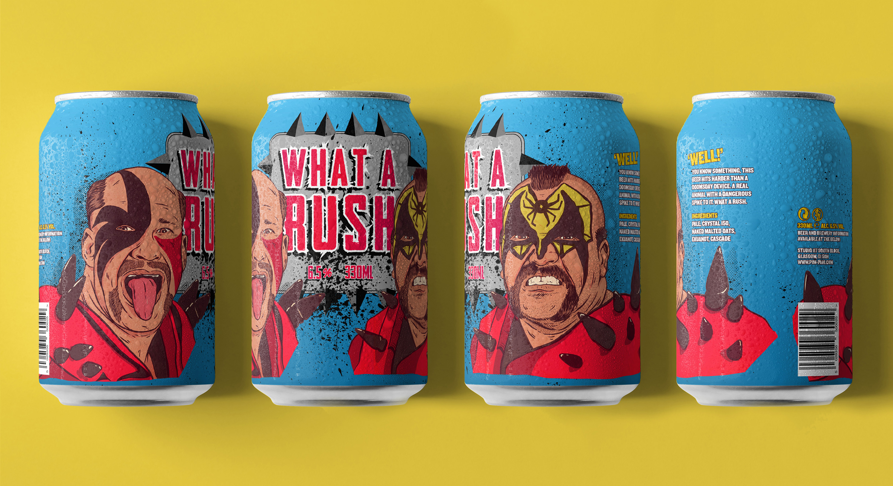 What a Rush! A Range of Beer Can Designs Celebrating Wrestlers of the Past