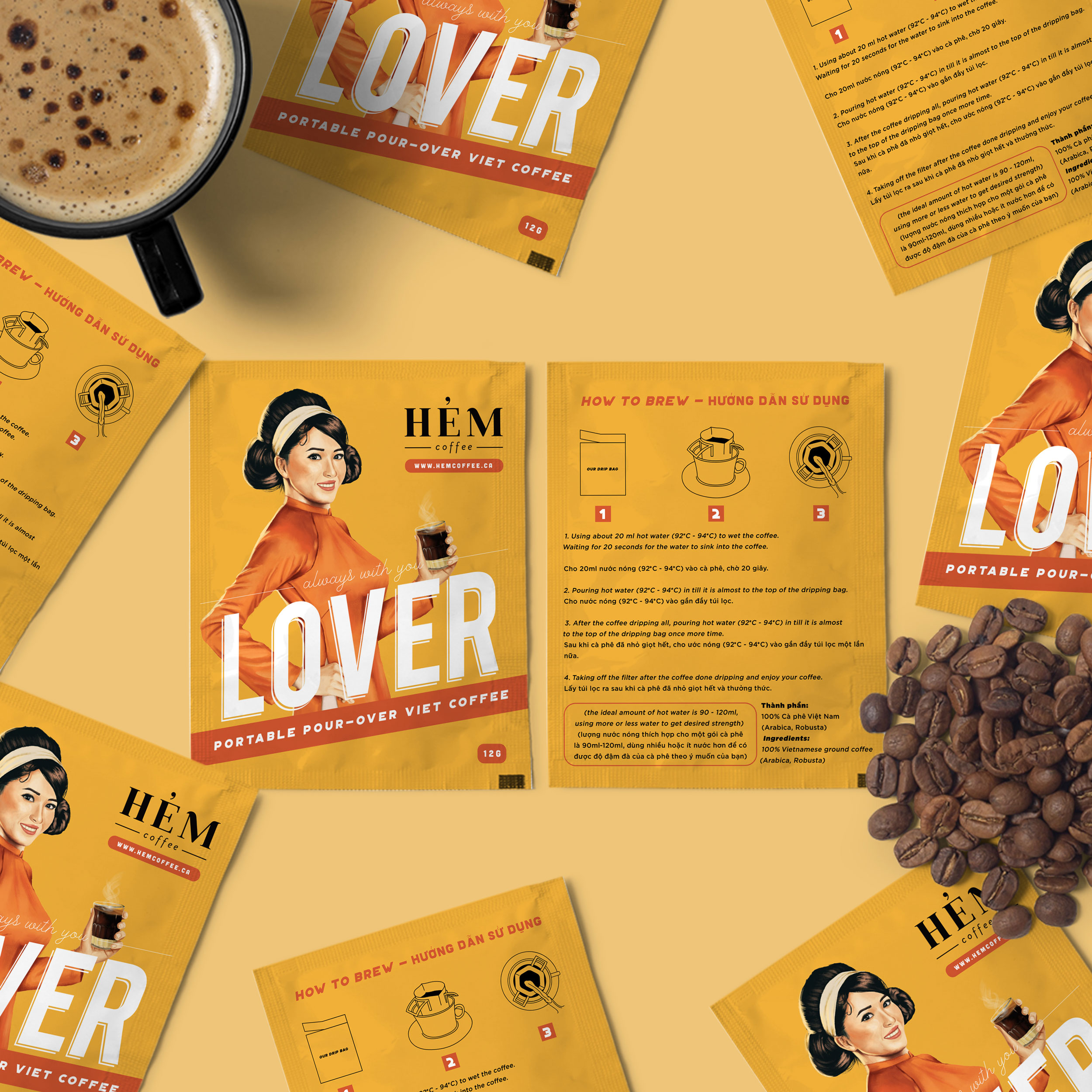 Lover Portable Pour-Over Vietnamese Coffee Packaging Design