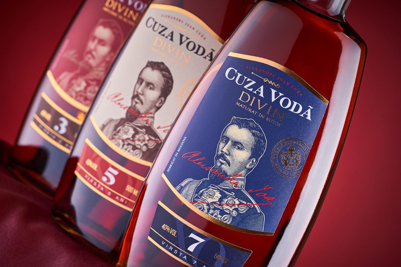 43oz Design Studio Redesign Brandy Label for Cuza Voda