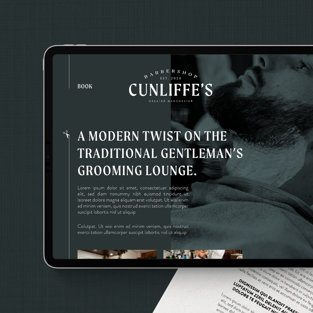Cunliffe's Barbershop WIP Branding Concept by Cinnamon Honey