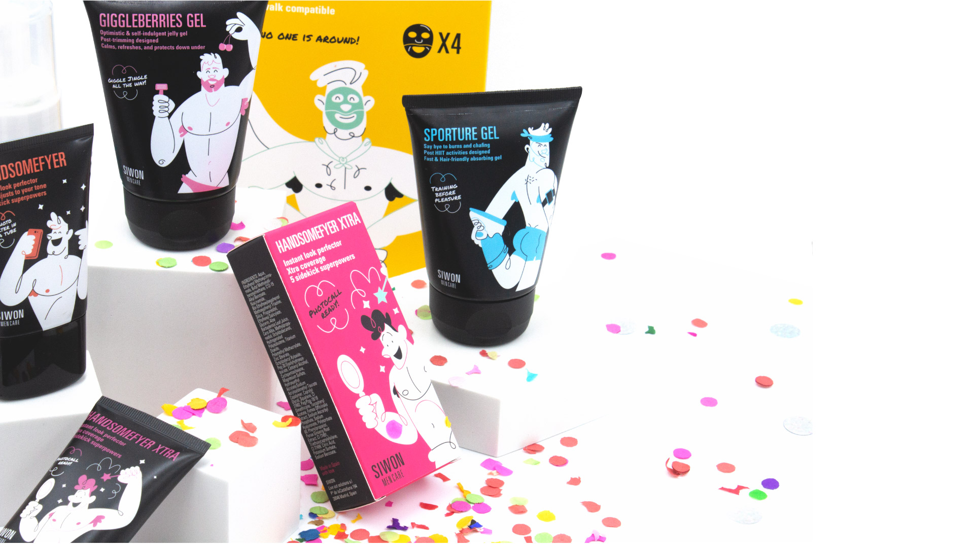 Siwon Men Care Product Range Illustration and Packaging Design