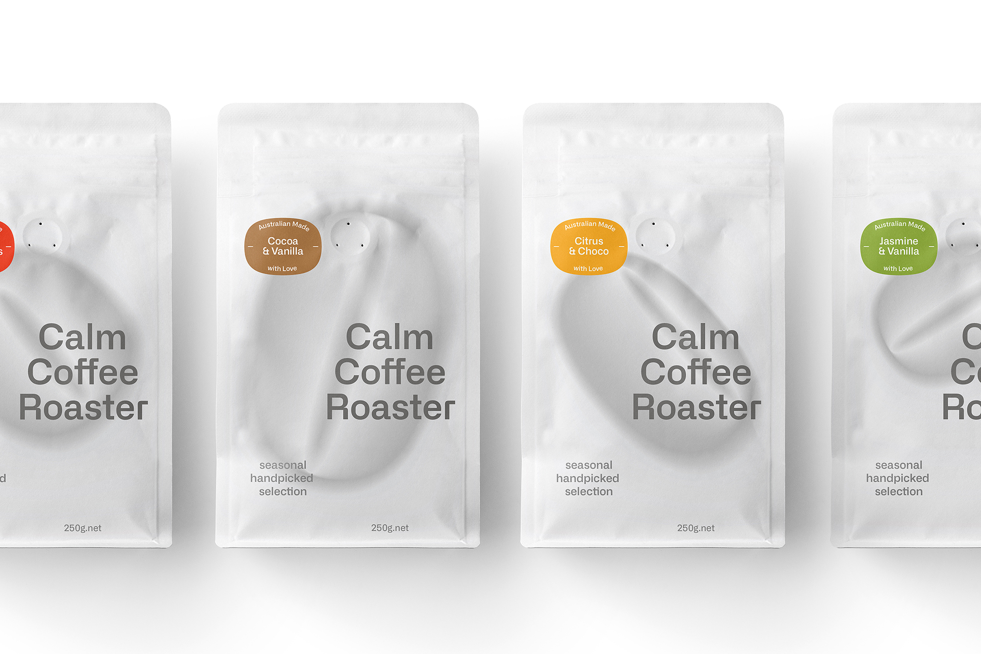 Packaging Design for Calm Coffee Roaster Created by Meng Zhang