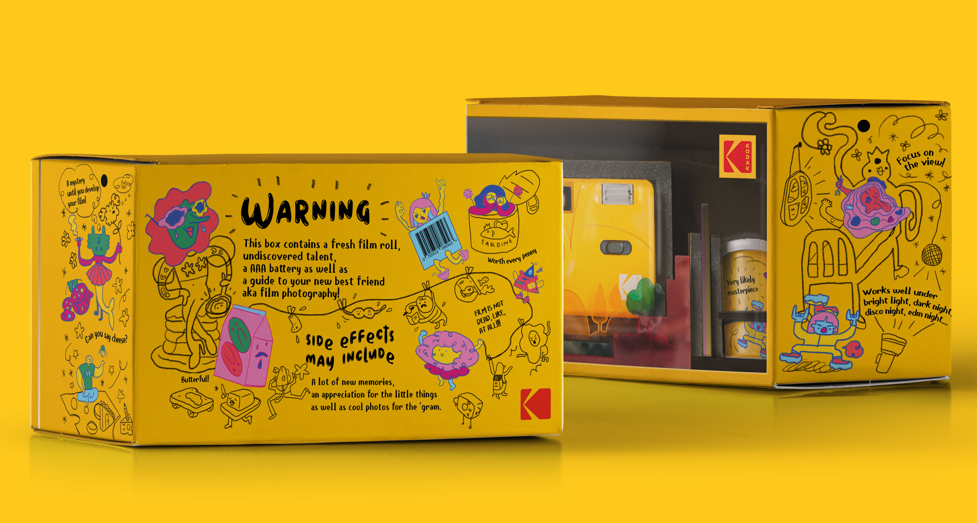 Student Concept Packaging Design for Kodak M35 with Unpredictable Characters