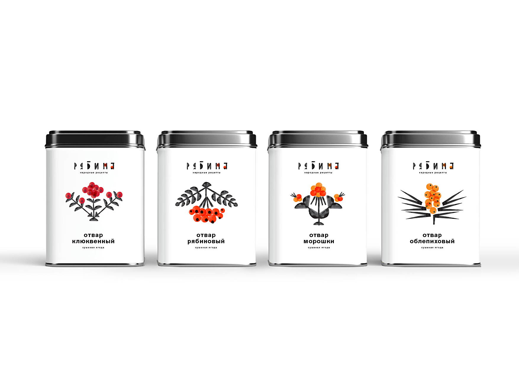 Ryabina Herbal Tea and Beverages Experimental Packaging Design Concept by Student Tatiana Dunaeva
