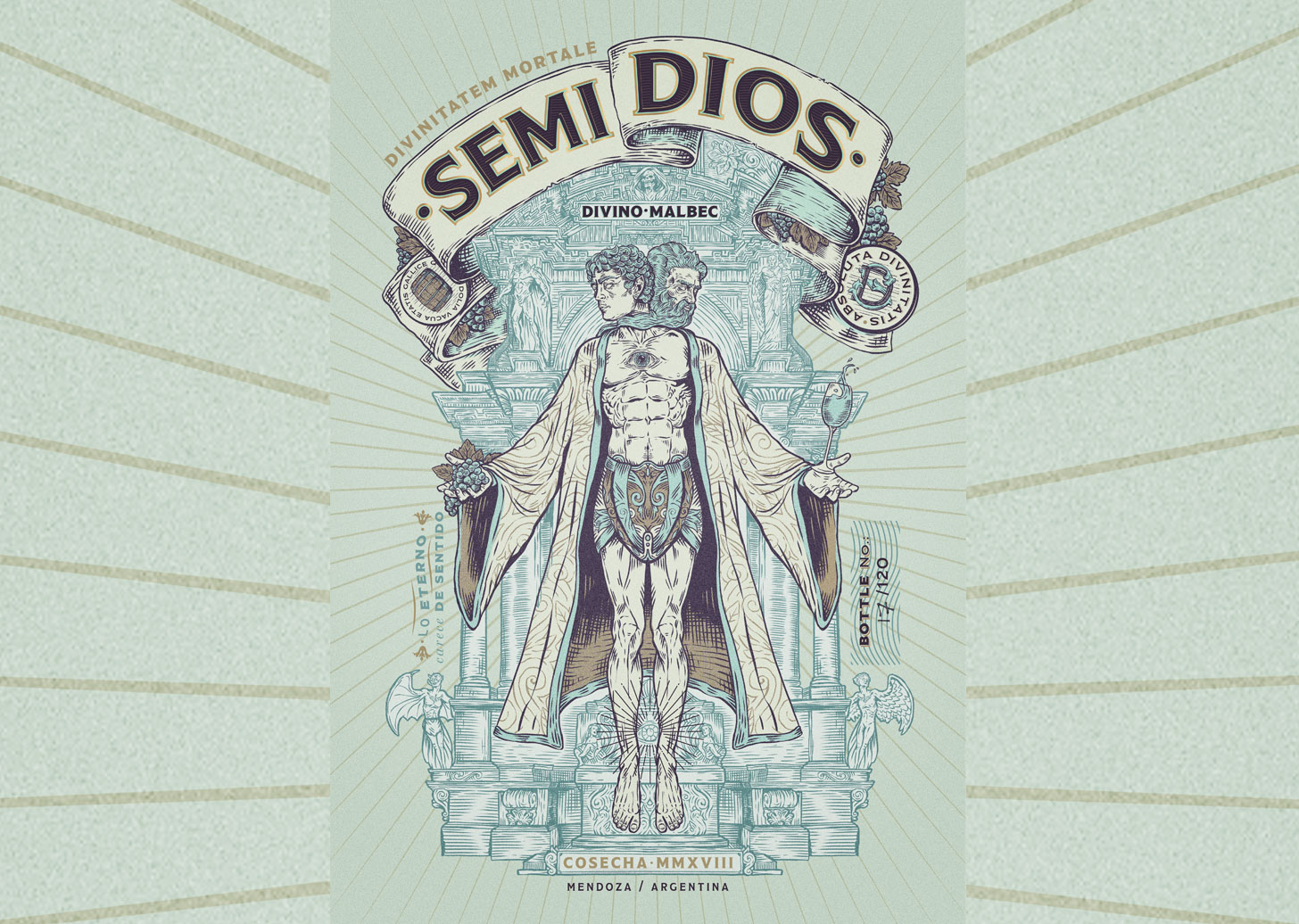 Concept SemiDios Malbec Wine Label Design Created by Emi Renzi