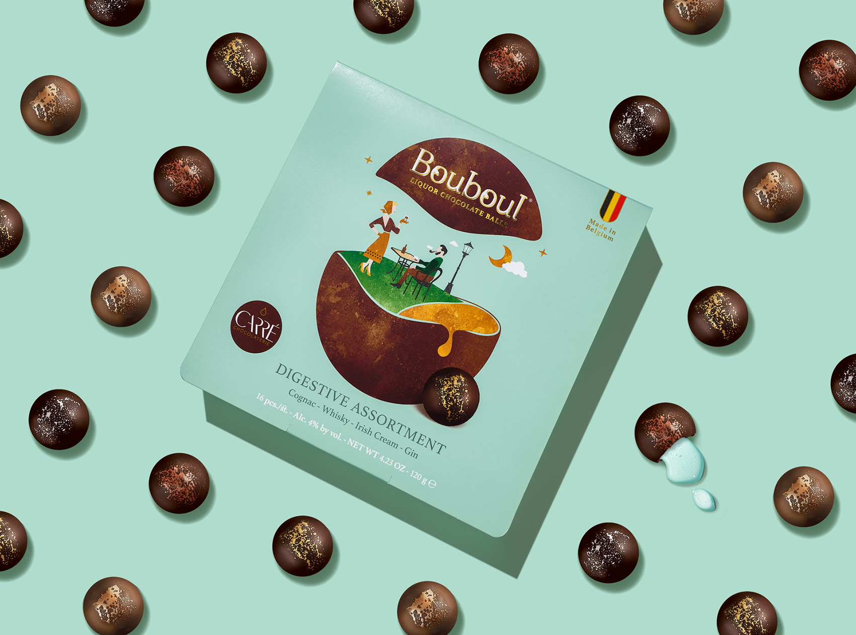 Quatre Mains Creates a Bouboul Packaging Design for Liqueur Chocolates