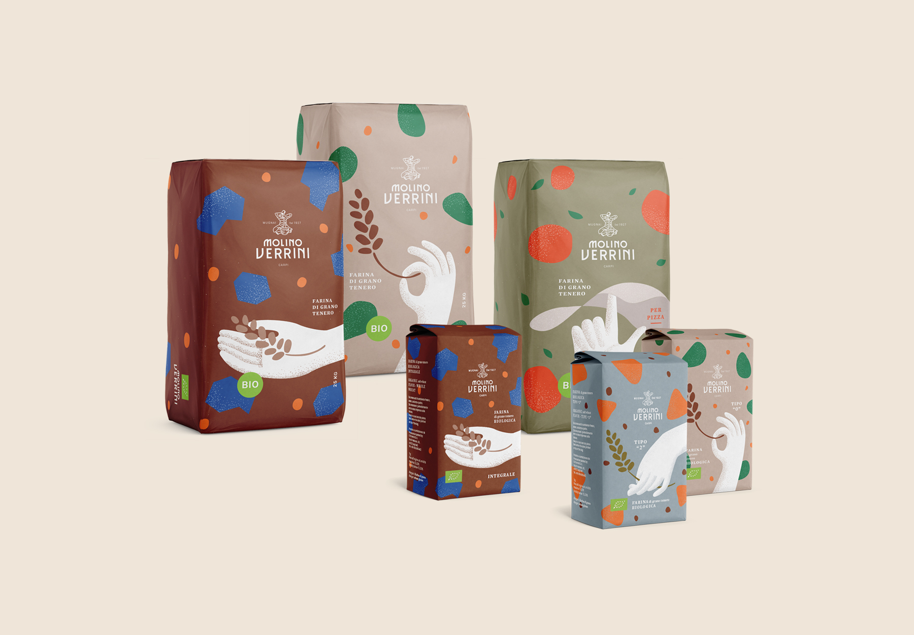 Packaging Design for Molino Verrini Organic Flous by Dry Studio