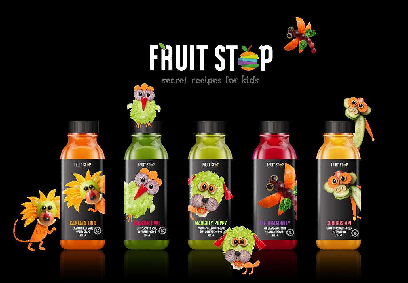 Wonder Machine Studio Design Packaging Labelling for Fruitstop Veggies Blend for Kids