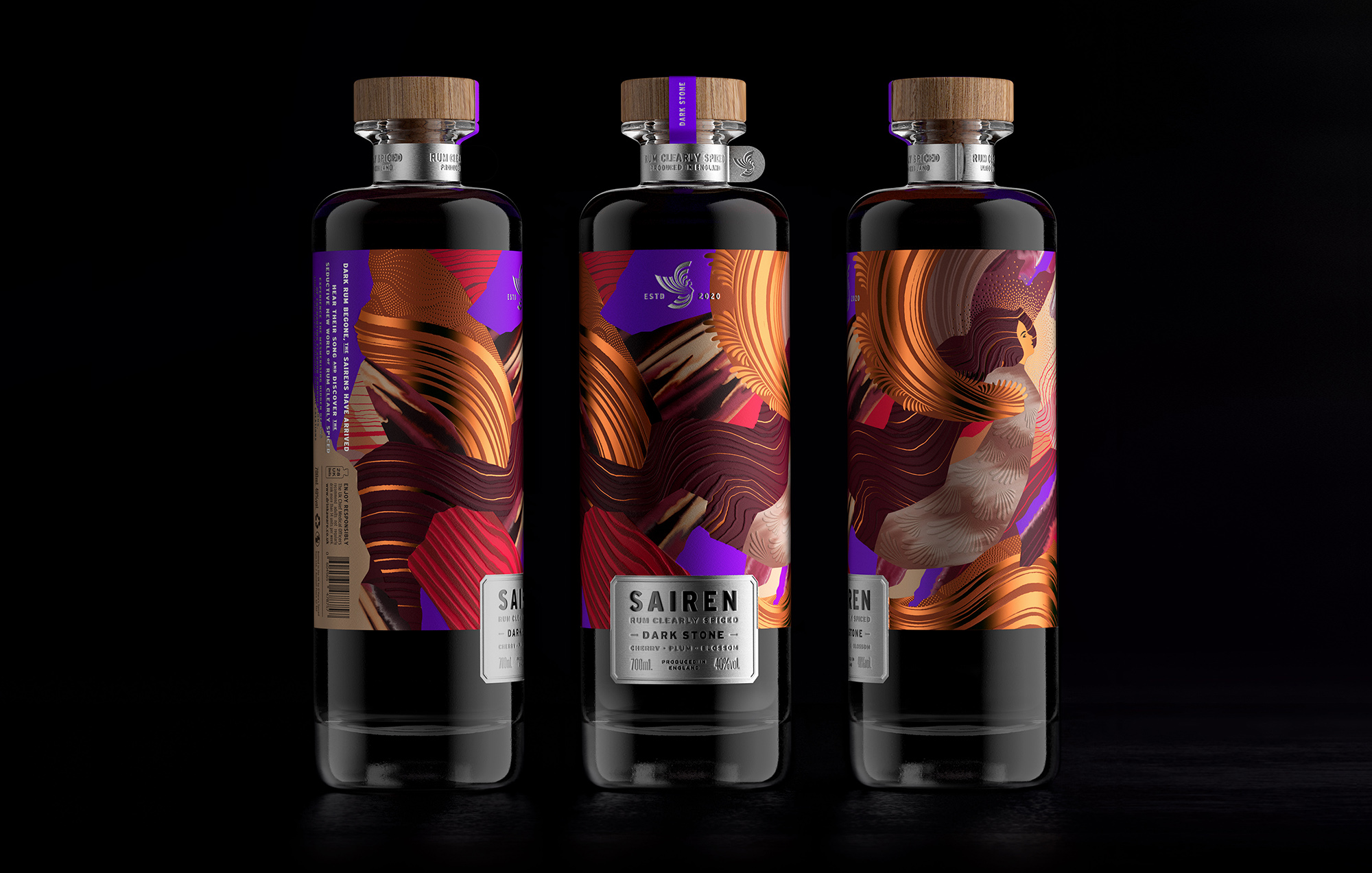 Sairen Rum Clearly Spiced Packaging Design by Símil Design