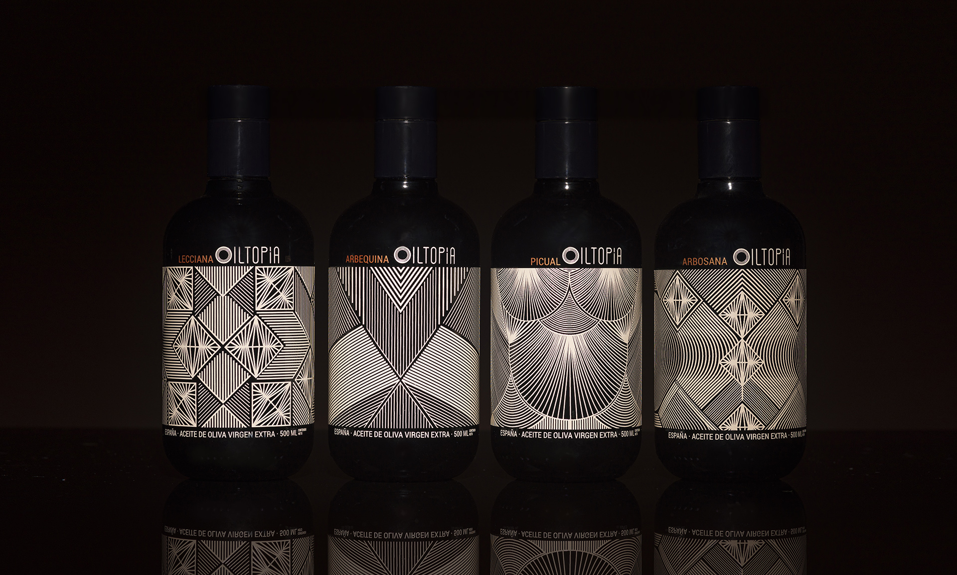 Cabello X Mure Design Packaging for Oiltopía a Utopian Evoo Extra Virgin Olive Oil
