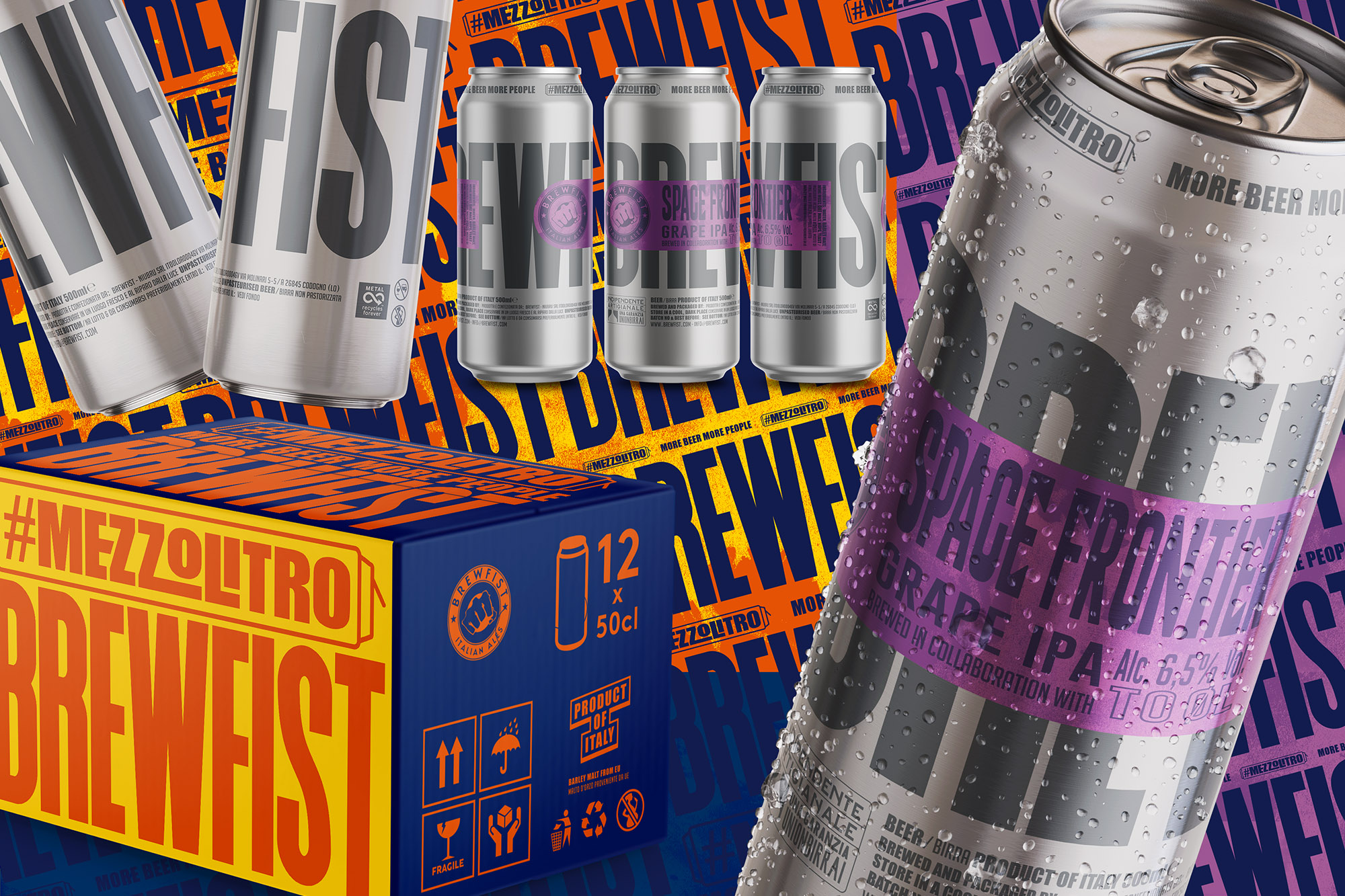 Raw Aluminium Cans with a New Bold Visual System for Brewfist Designed ByVolume