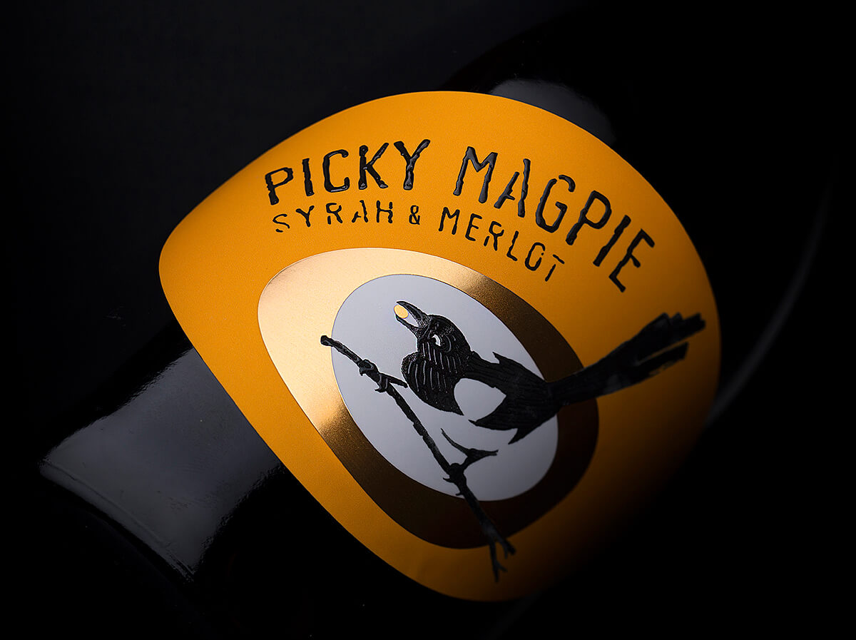 Picky Magpie a Unique Wine Brand Creation for Stratsin Winery Created by the Labelmaker