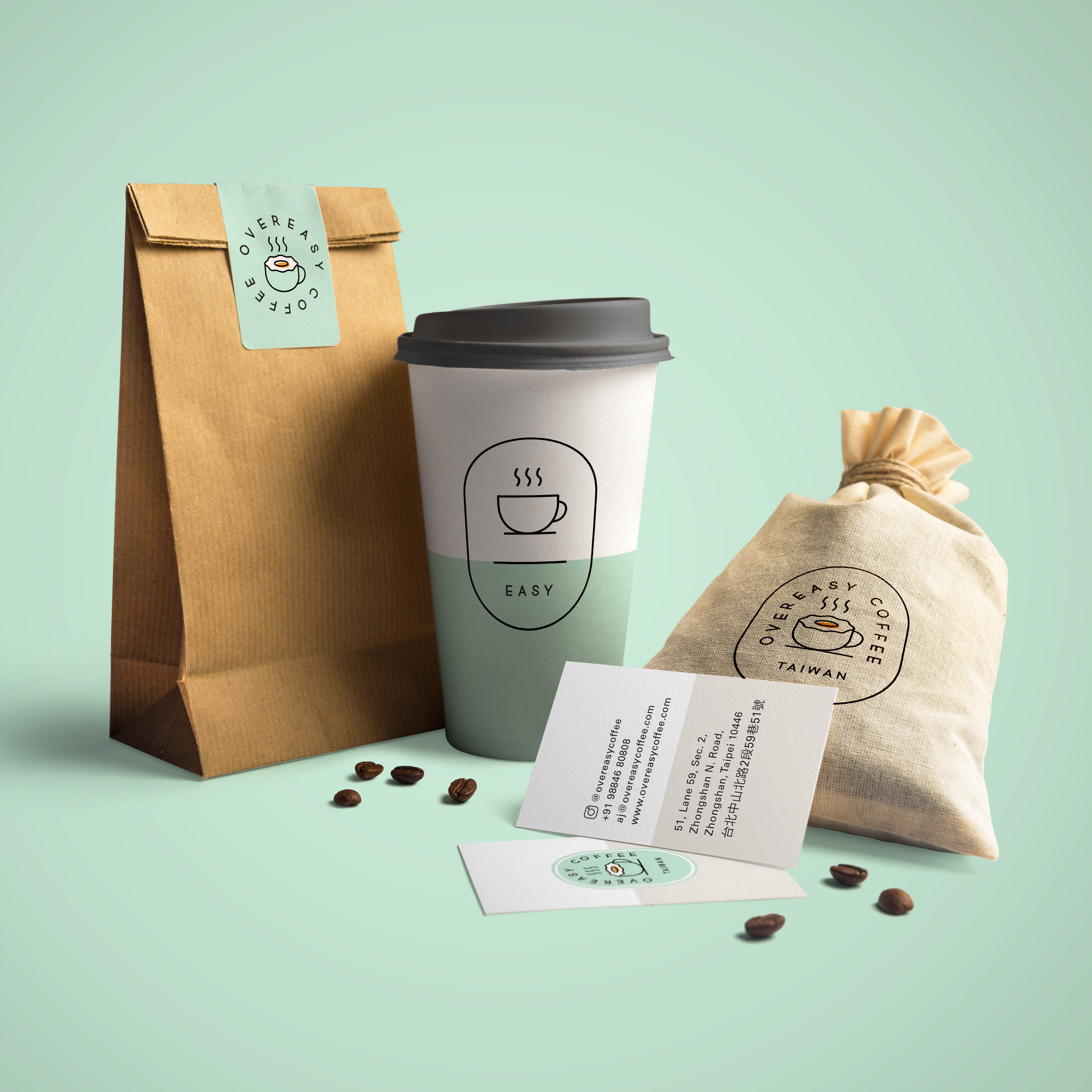 Pink Cheese Designs a Minimalistic Branding for Overeasy Coffee in Taiwan