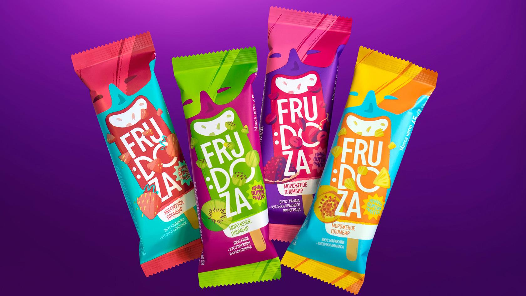 Frudoza Fruit Ice Cream Packaging Redesign by Brama Branding