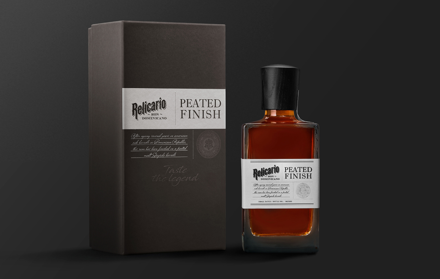 Packaging Design for Relicario Peated Finish a Superior Rum
