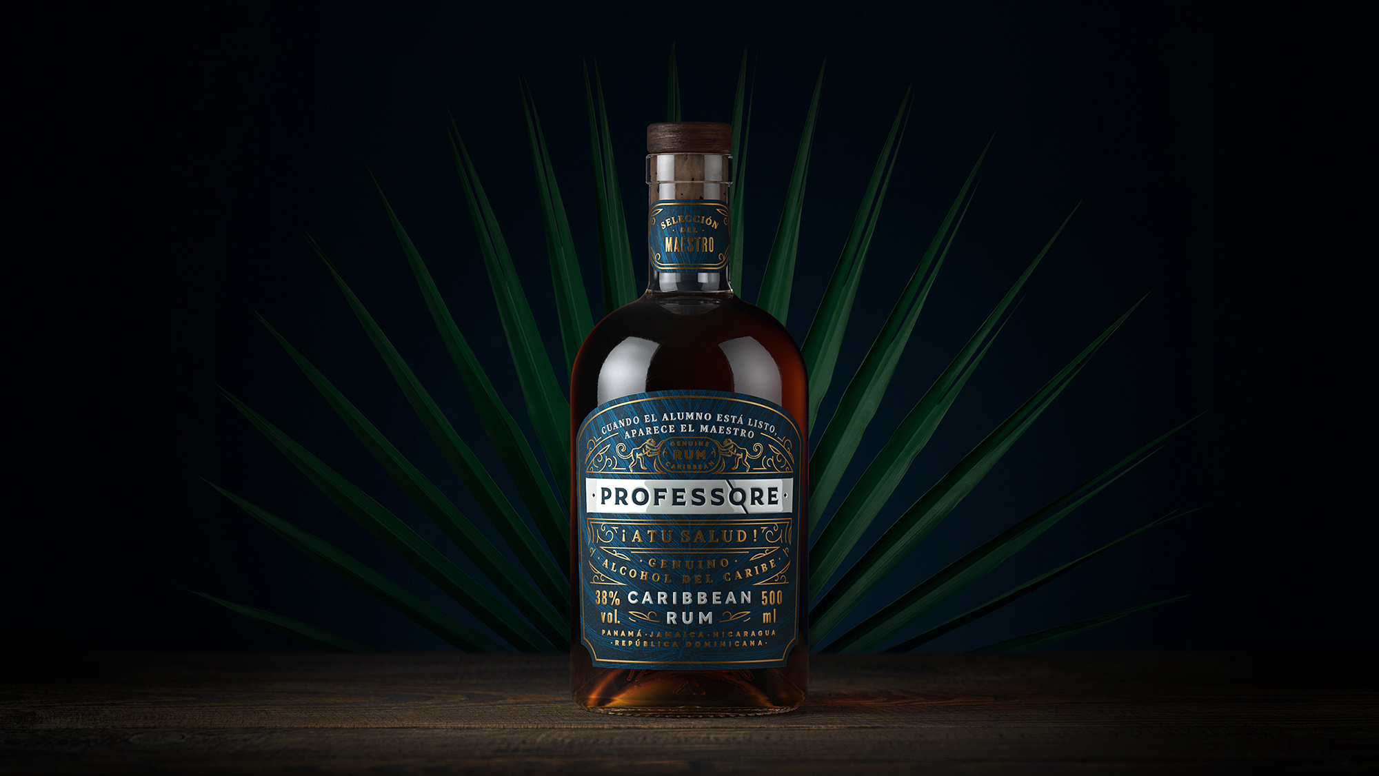 Professore Caribbean Rum Label Design by Amoth Studio
