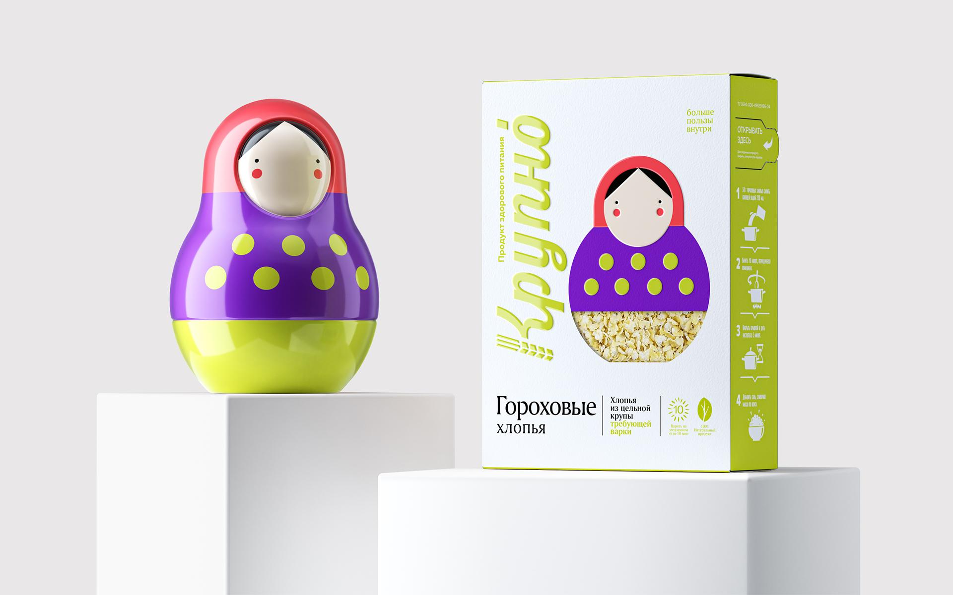 Supermarket Branding Agency Rebranded Krupno Ready-Cooked Porridge