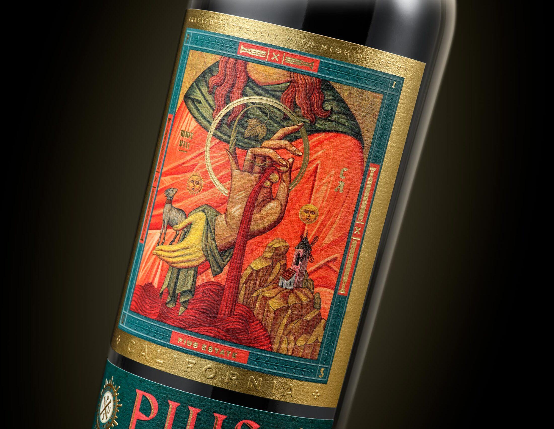 Chad Michael Studio Crafts PIUS Estates 2018 Cabernet Sauvignon Wine Label