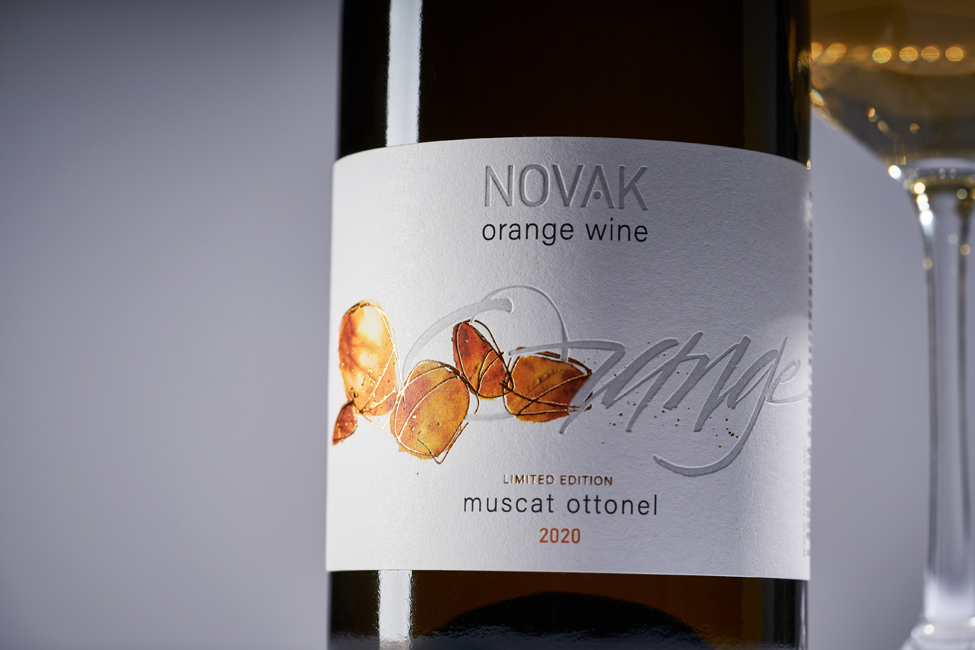 Orange Wine Label Design for Novak Orange Created by 43oz Design Studio