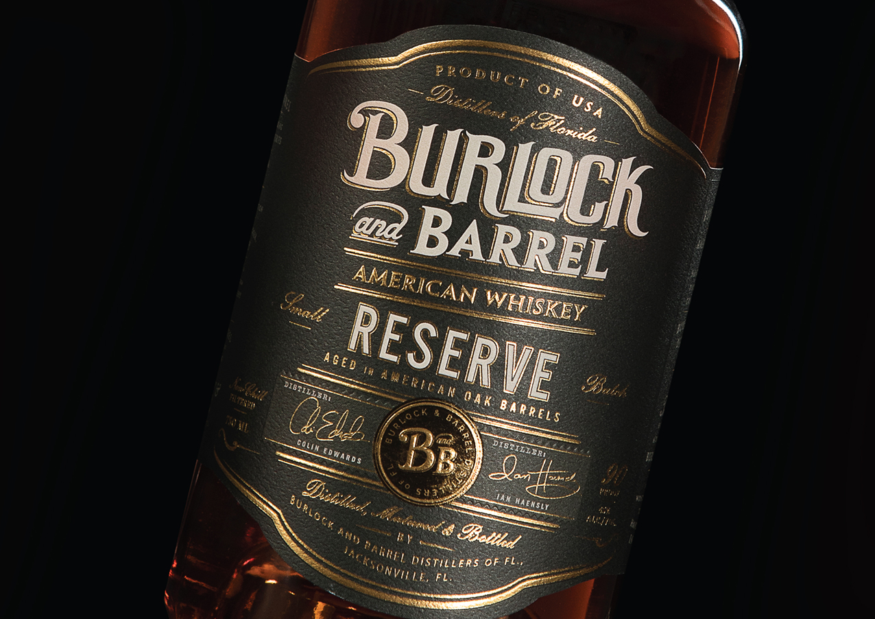 Burlock and Barrel Reserve American Whiskey Packaging Design by Brand Hatch Creative