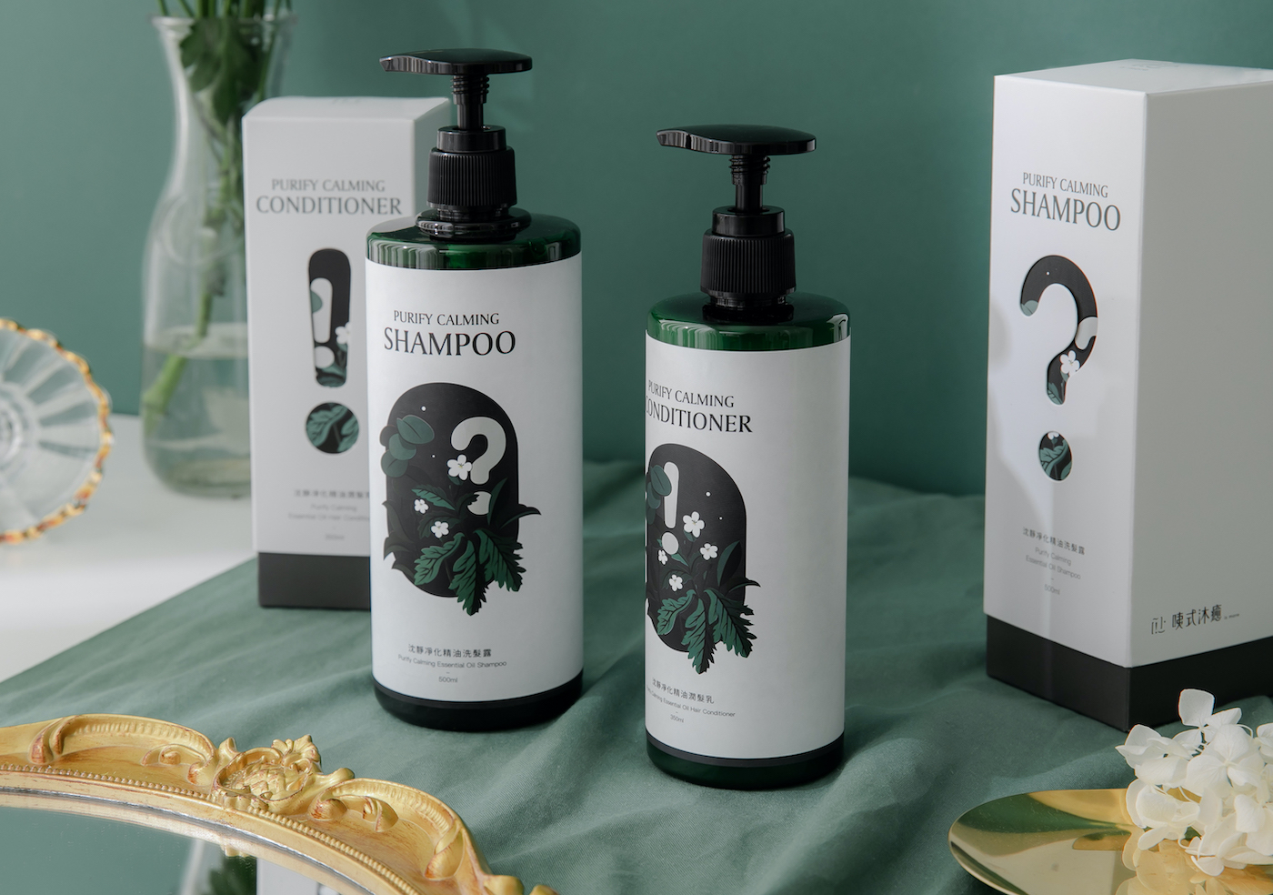 Branding and Packaging Design for Purify Calming Shampoo and Conditioner Created K9 Design