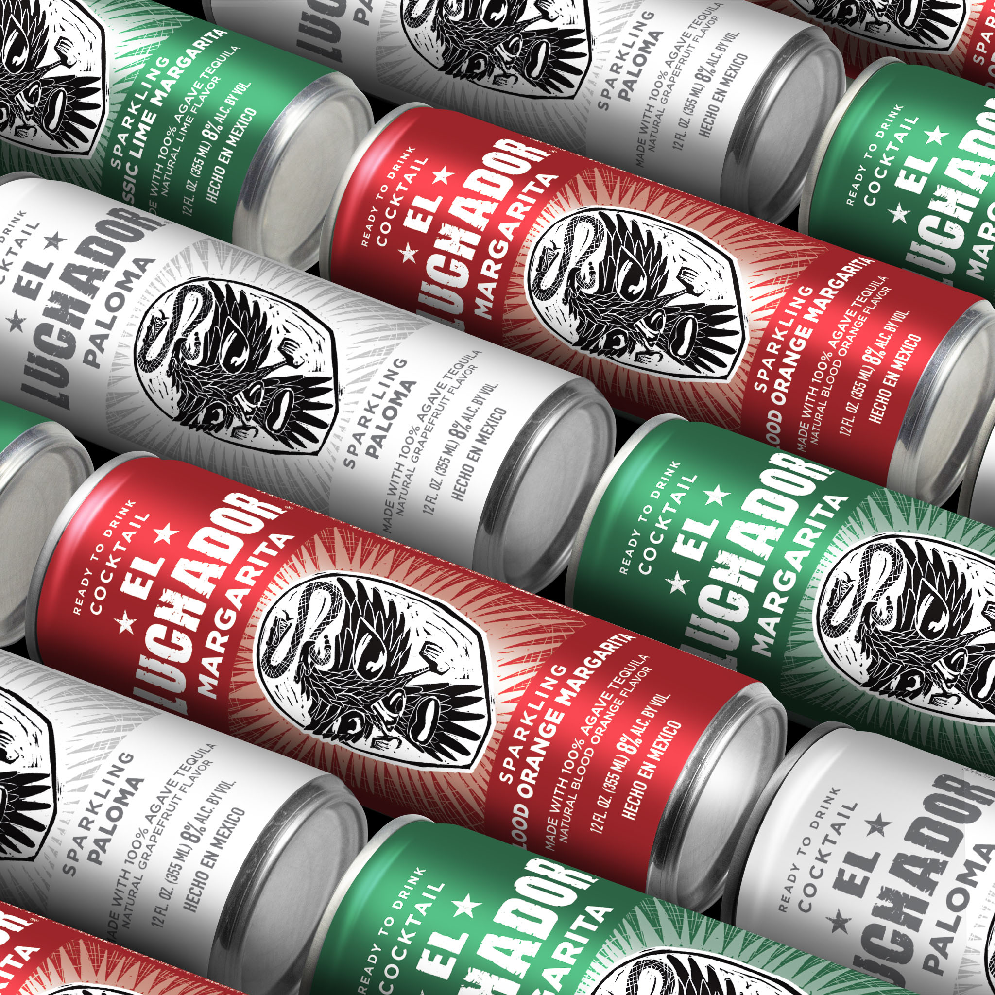 Can Packaging Design for El Luchador Ready-to-Drink Product Range Created by Van Heertum Design VHD