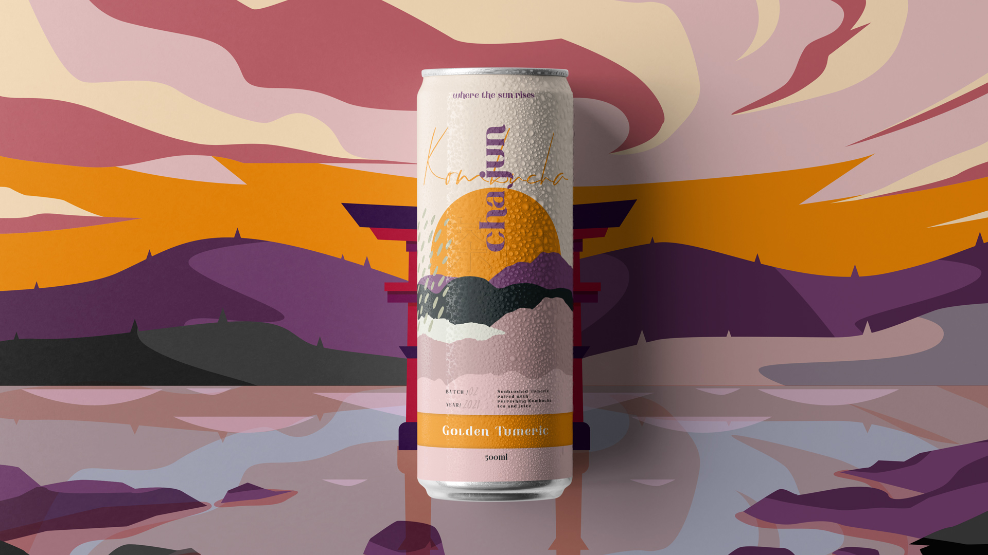Vinille Create Identity, Packaging, and Print Collateral for the Asian Kombucha Brand