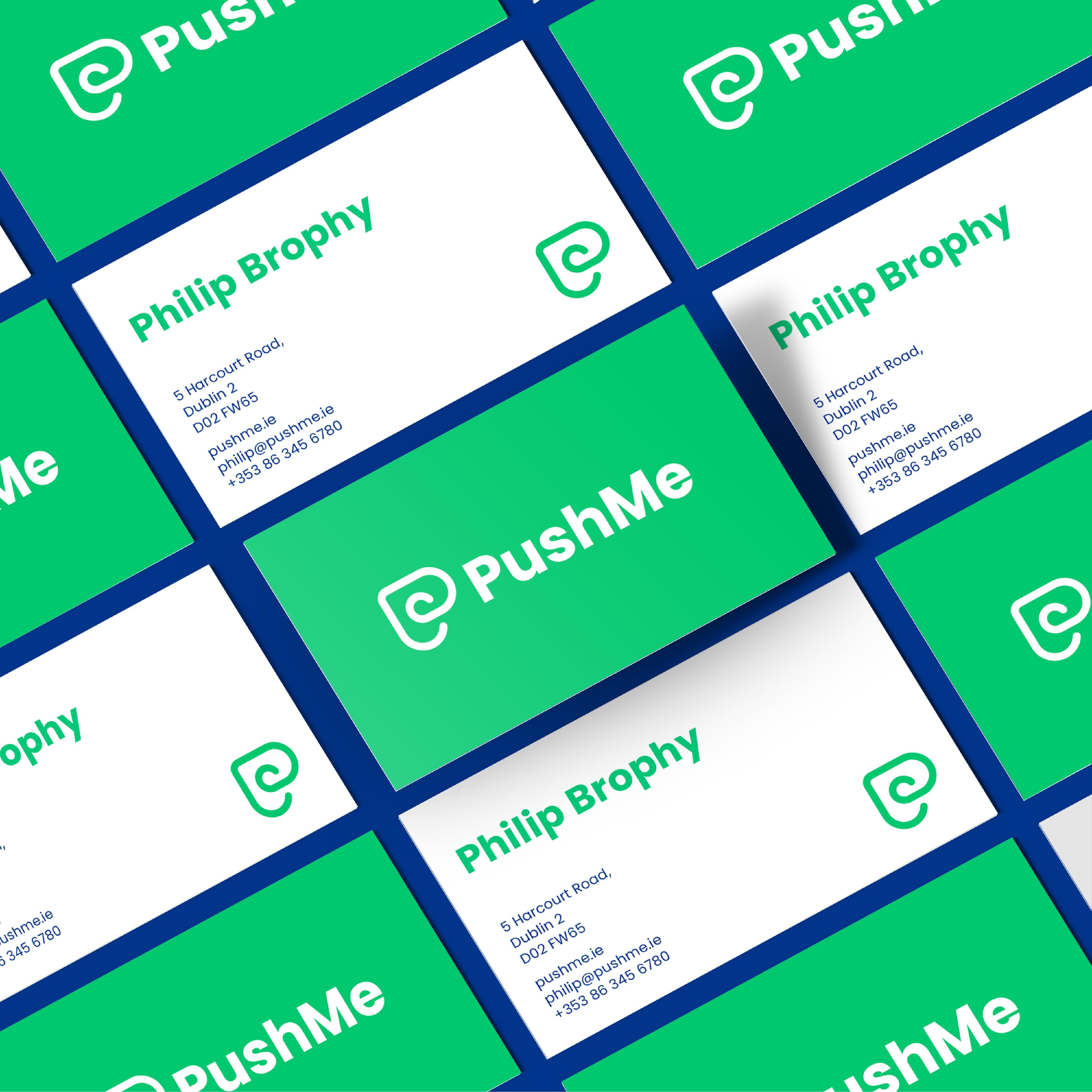 PushMe Brand Identity Designed by Michael Sloane