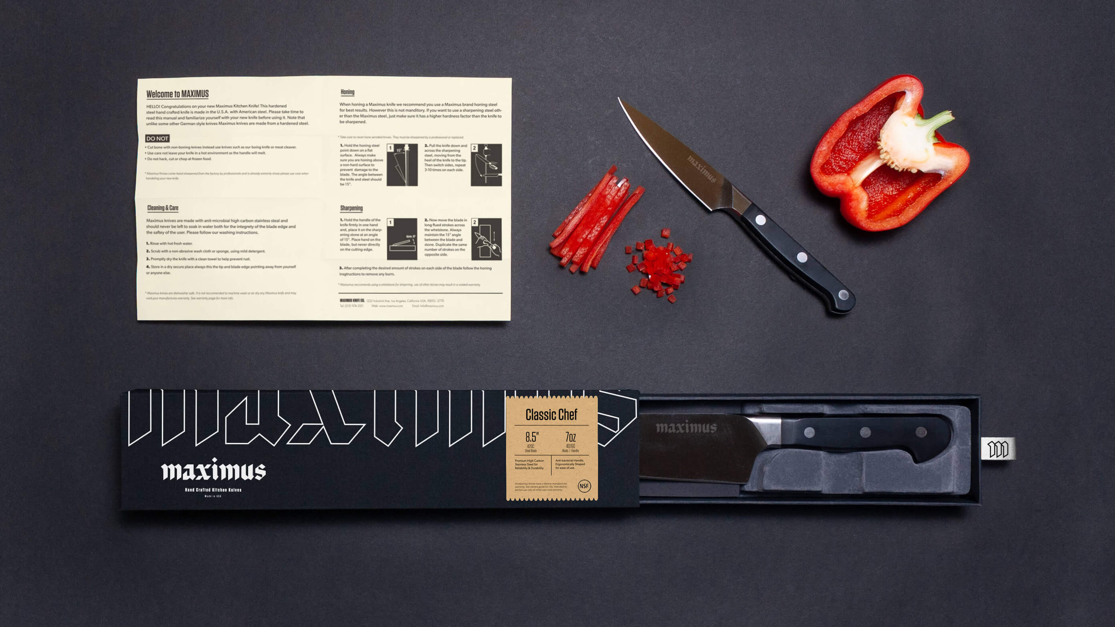 Maximus Knives Identity and Packaging Design by Student Antonio Mustico